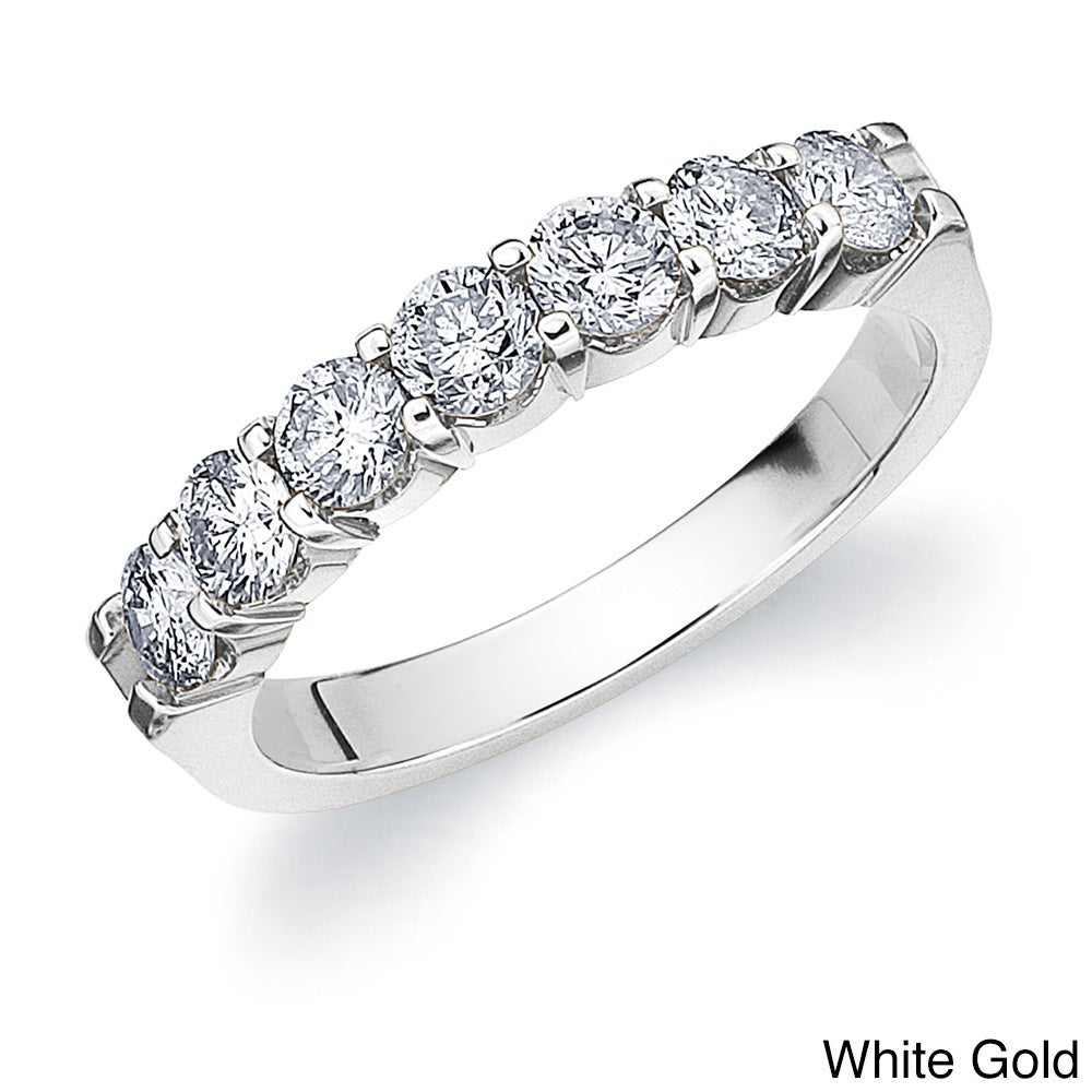 in anniversary wedding stone rings or cttw gold yellow ring diamond round seven engagement