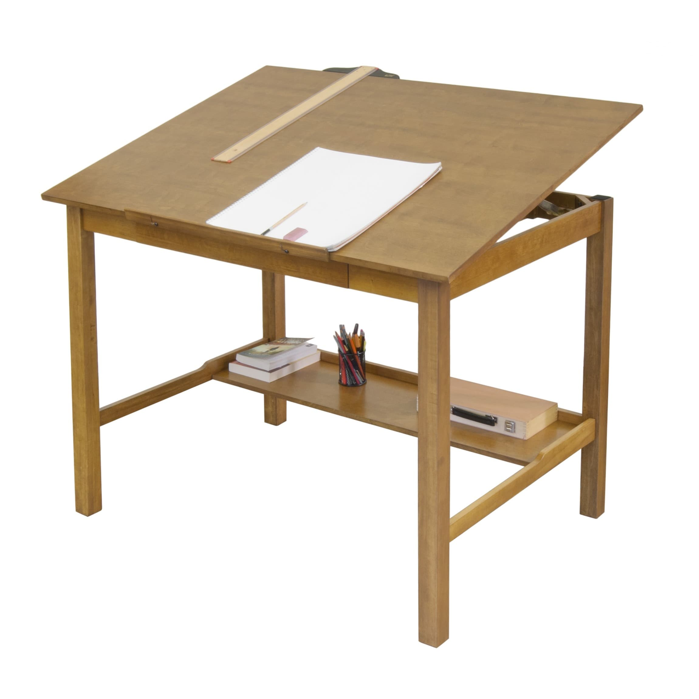 Shop Studio Designs Americana II 48 Inch Wide Light Oak Wood Drafting And  Hobby Craft Table   Free Shipping Today   Overstock.com   8369682