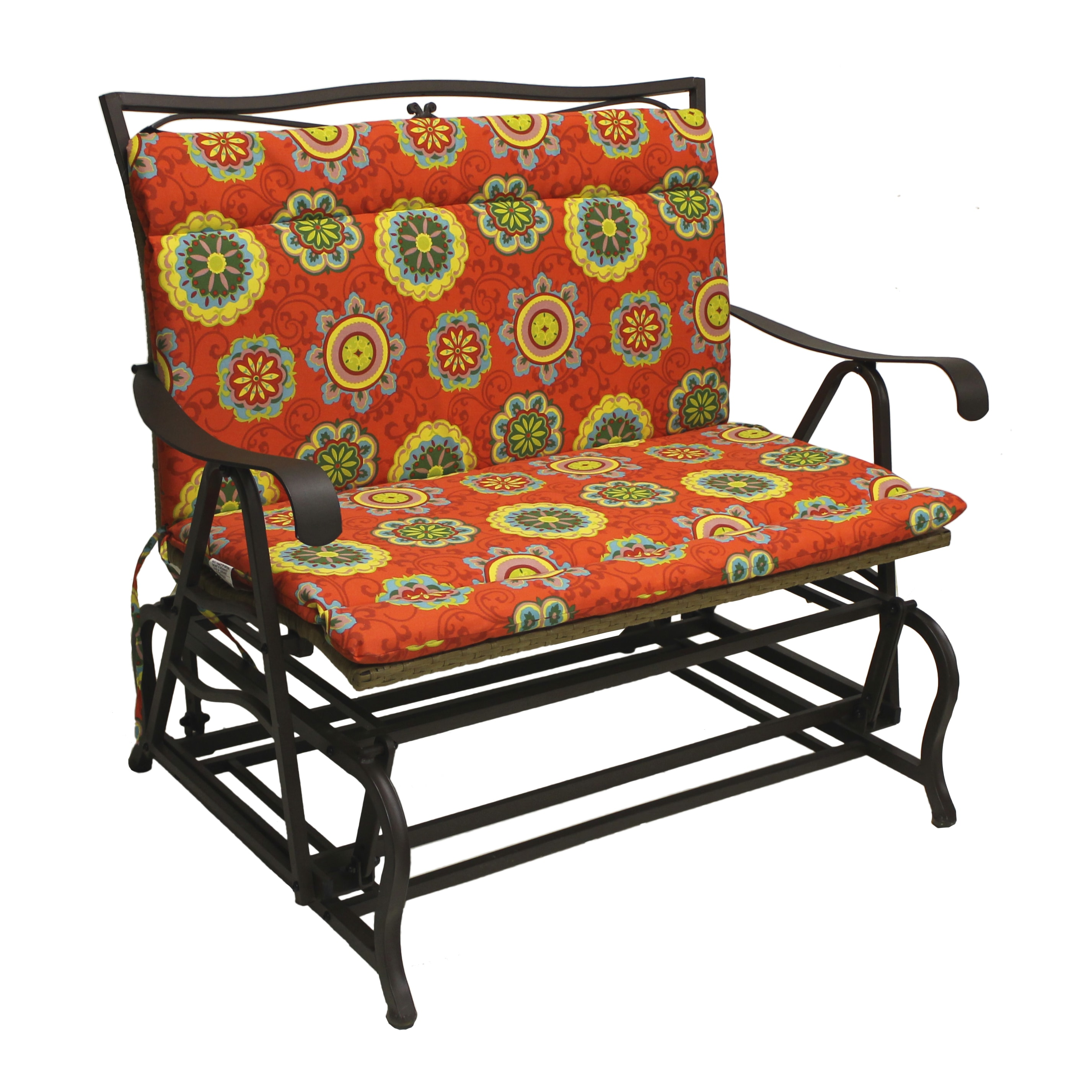 Blazing Needles Outdoor Double Glider/ Bench Seat/ Back Cushion   42u0026quot;  ...