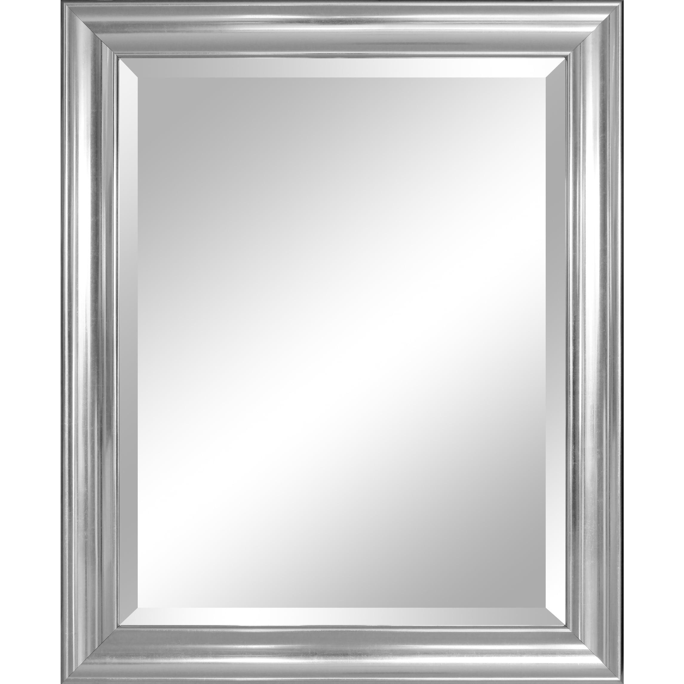 Shop Crackled Silver Bevelled Glass 28-inch x 34-inch Framed Mirror ...