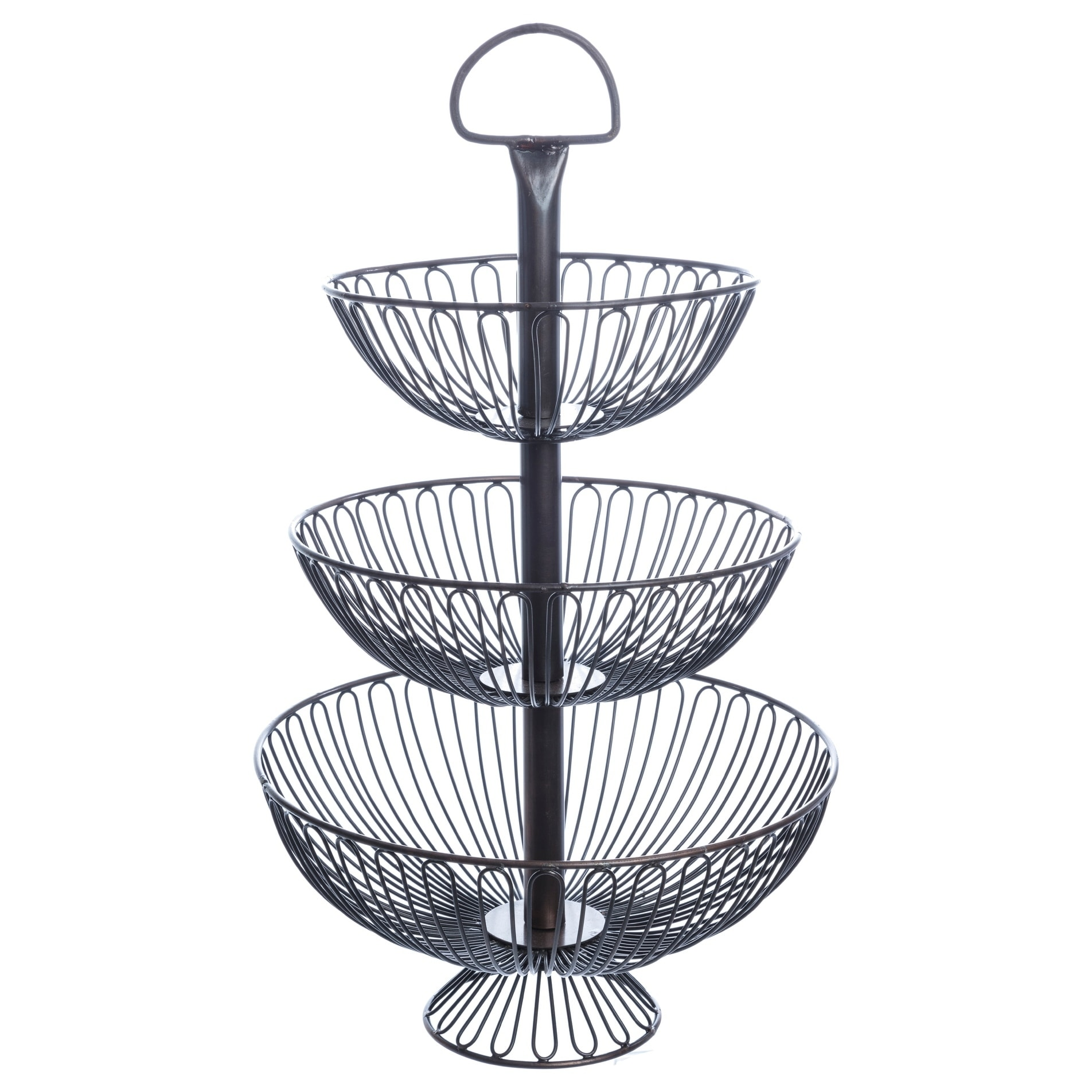Shop 24-Inch Three-Tier Decorative Wire Basket Stand - Free Shipping ...
