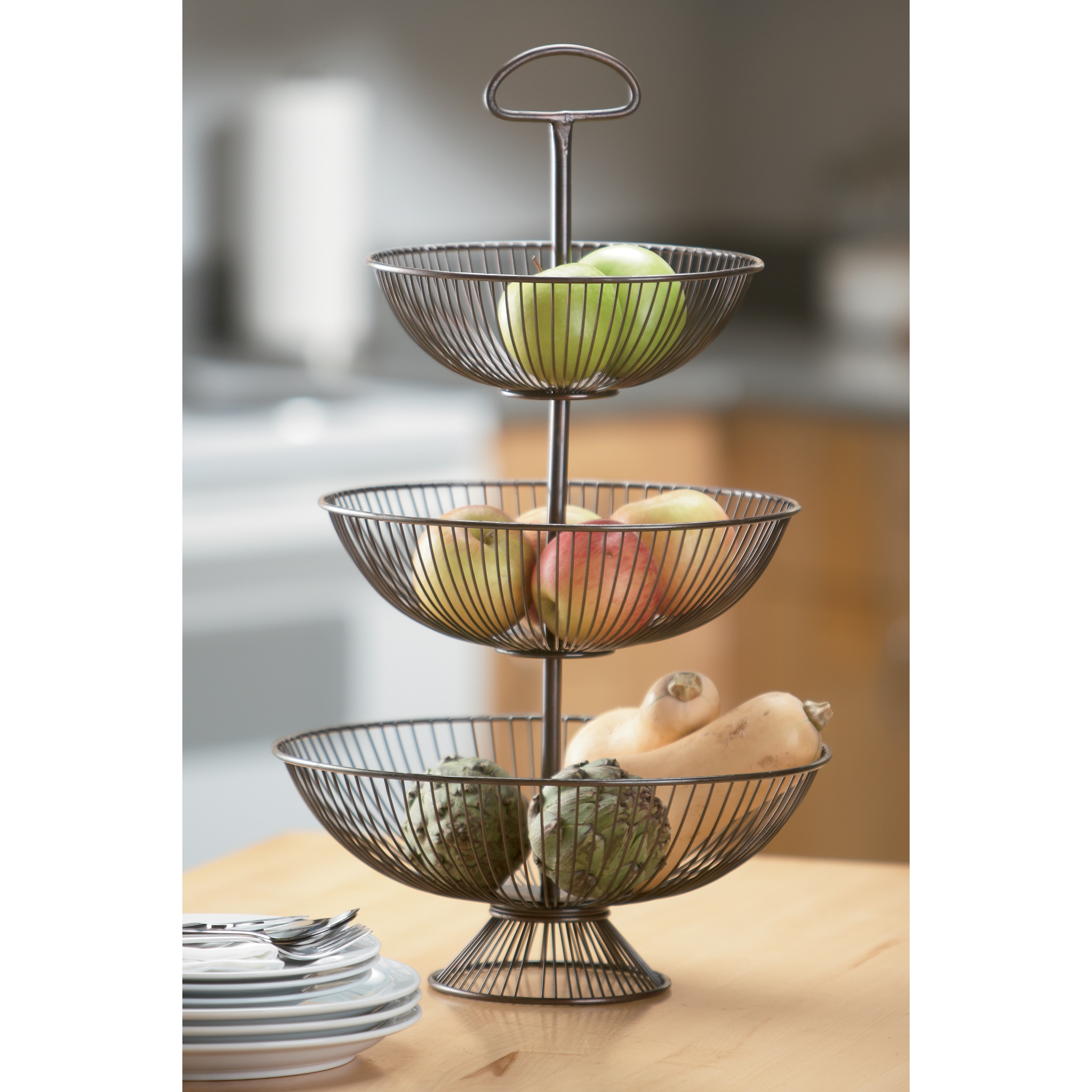 24-Inch Three-Tier Decorative Wire Basket Stand - Free Shipping Today -  Overstock.com - 15683516