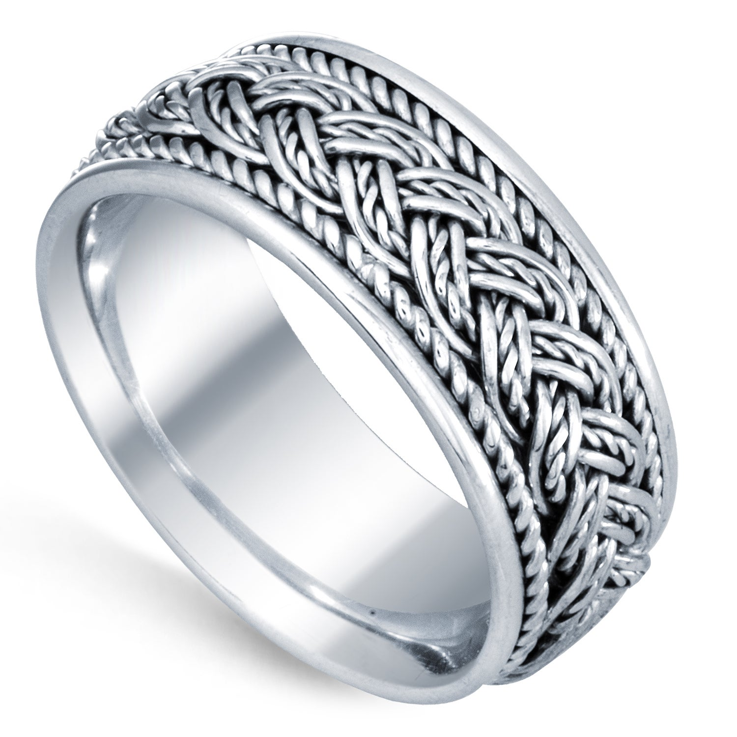 68b642a12de Shop 14k White Gold Handmade Braided Comfort Fit Women s Wedding Bands -  Free Shipping Today - Overstock - 8379066