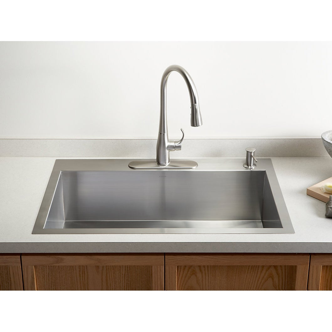 KOHLER K 3821 4 NA Vault Large Single Kitchen Sink With Four Hole Faucet  Drilling   Free Shipping Today   Overstock   15683558