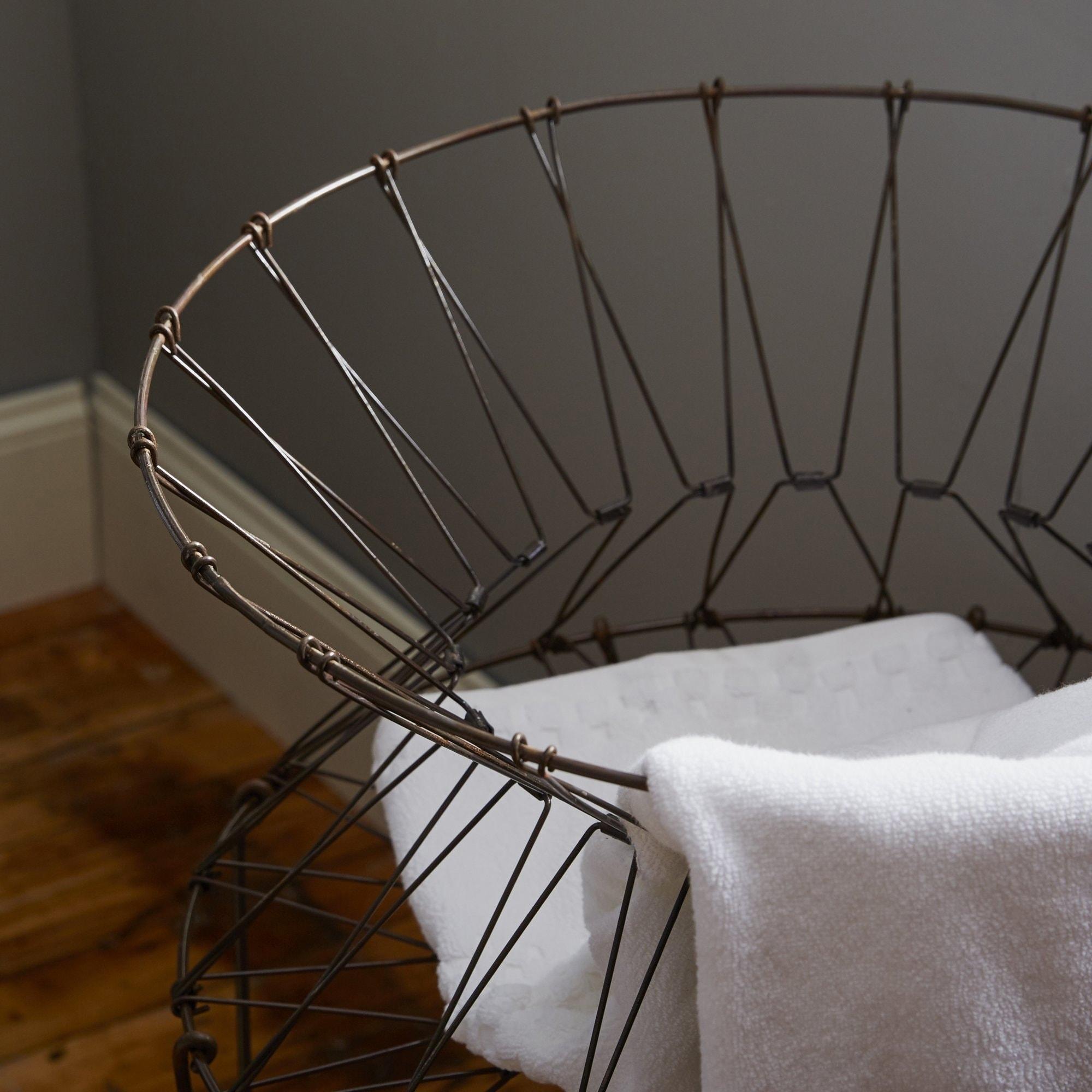 Shop Vintage Collapsible Wire Laundry Basket Hamper - On Sale - Free ...
