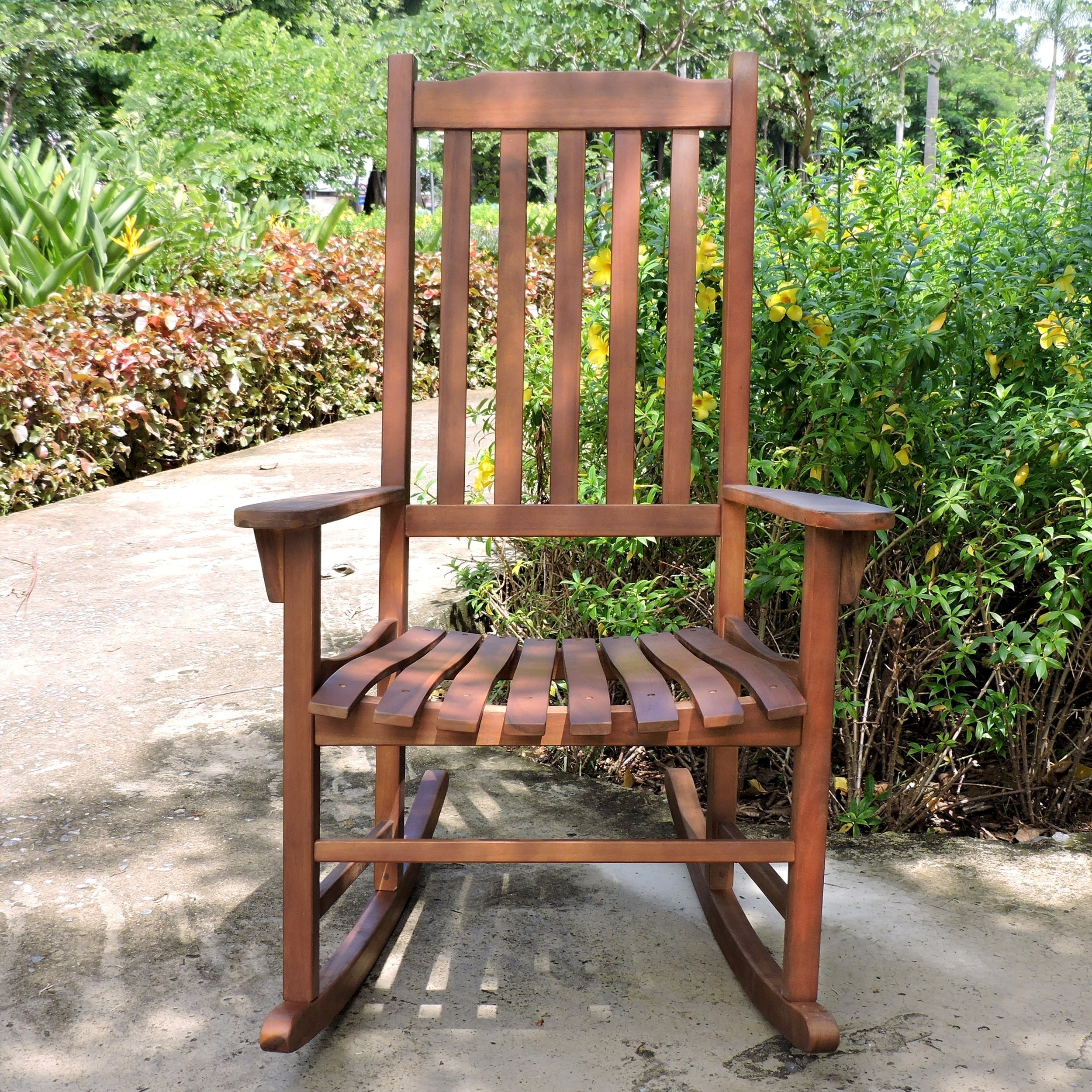 Amazing Laurel Creek Agnes Traditional Acacia Hardwood Rocking Chair   Free  Shipping Today   Overstock   15684990