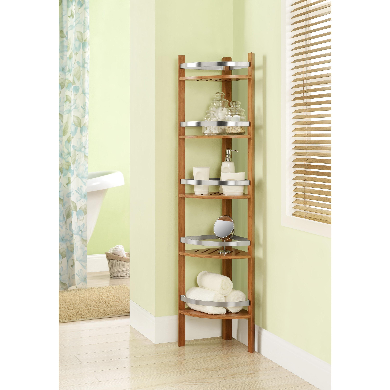 Shop Altra Bamboo Bathroom Shelves Corner Tower - Free Shipping ...