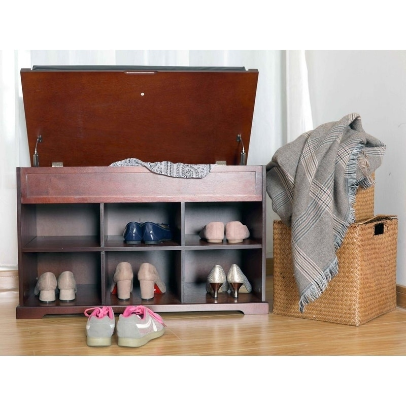 Shop Merry Products Wooden Shoe Bench Wth Cushion And Storage Free