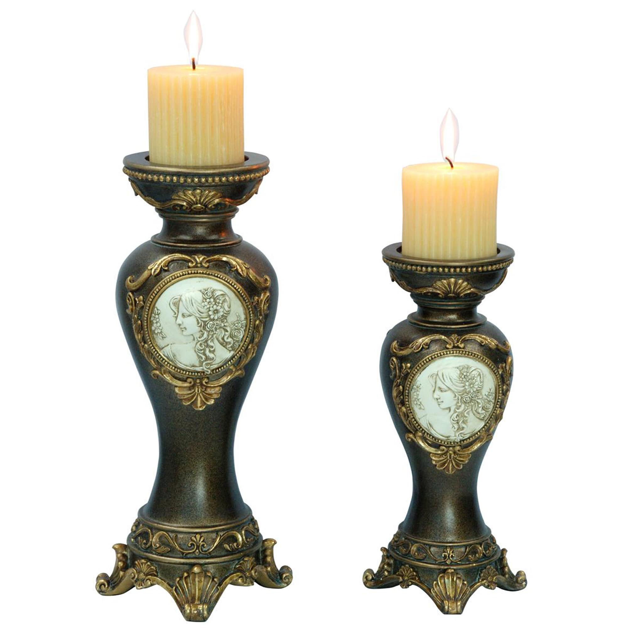 Shop handcrafted bronze decorative candle holders set of 2 free shipping today overstock com 8385197