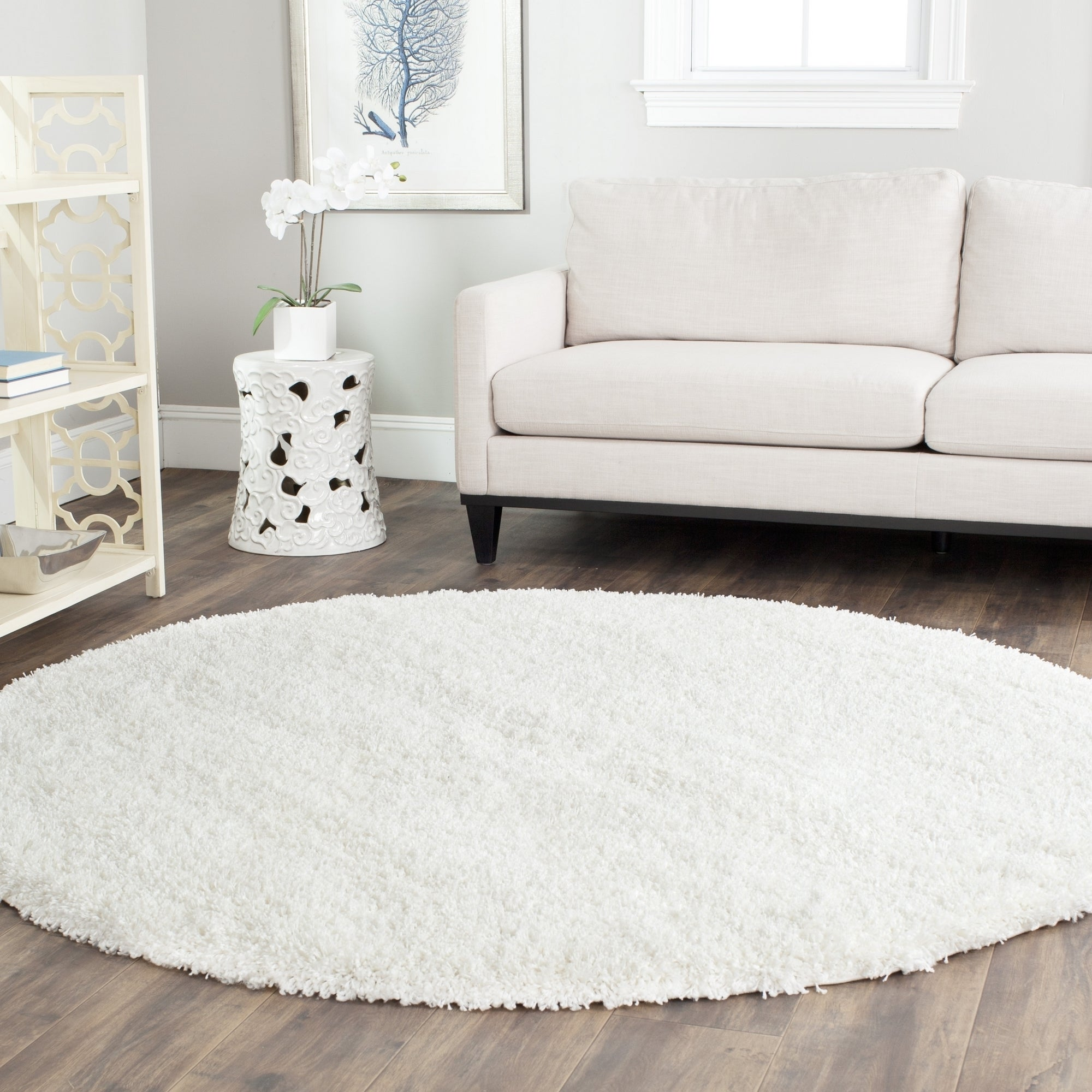 Shop Safavieh California Cozy Plush Milky White Shag Rug - 8\'6 Round ...