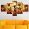 'Man & Nature' Hand Painted Canvas Art (5 Piece)