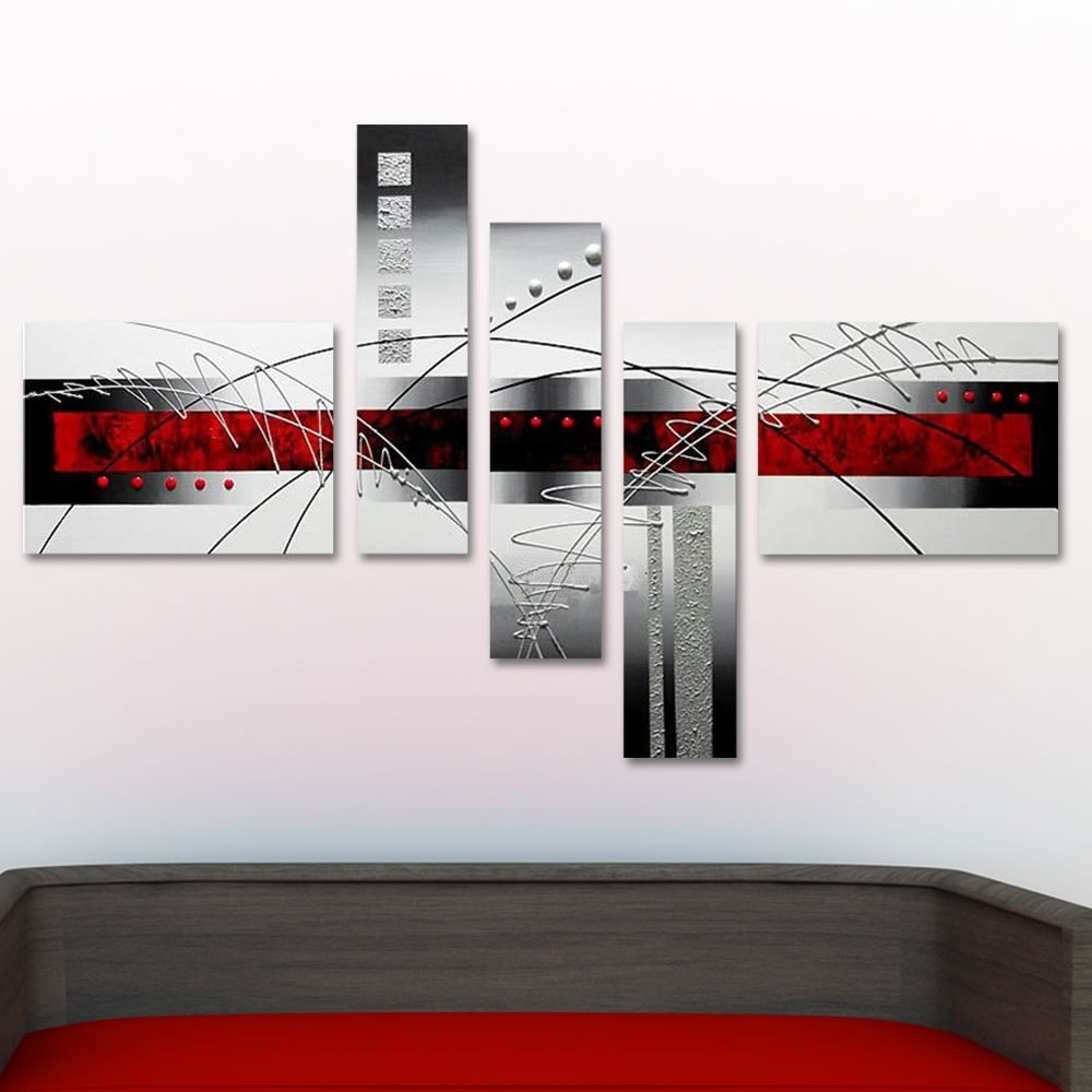 Shop u0027Abstract Grey u0026 Redu0027 Hand Painted Canvas Art (5 Pieces) - On Sale - Free Shipping Today - Overstock.com - 8390183 & Shop u0027Abstract Grey u0026 Redu0027 Hand Painted Canvas Art (5 Pieces) - On ...