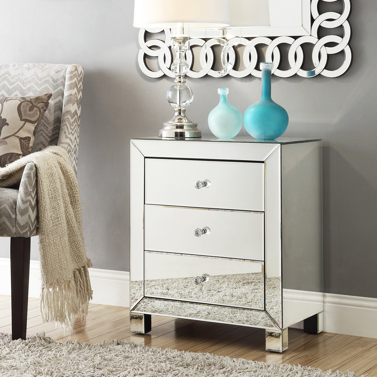 Esmond Mirrored 3-drawer Accent Table by iNSPIRE Q Bold - Free Shipping  Today - Overstock.com - 15696209