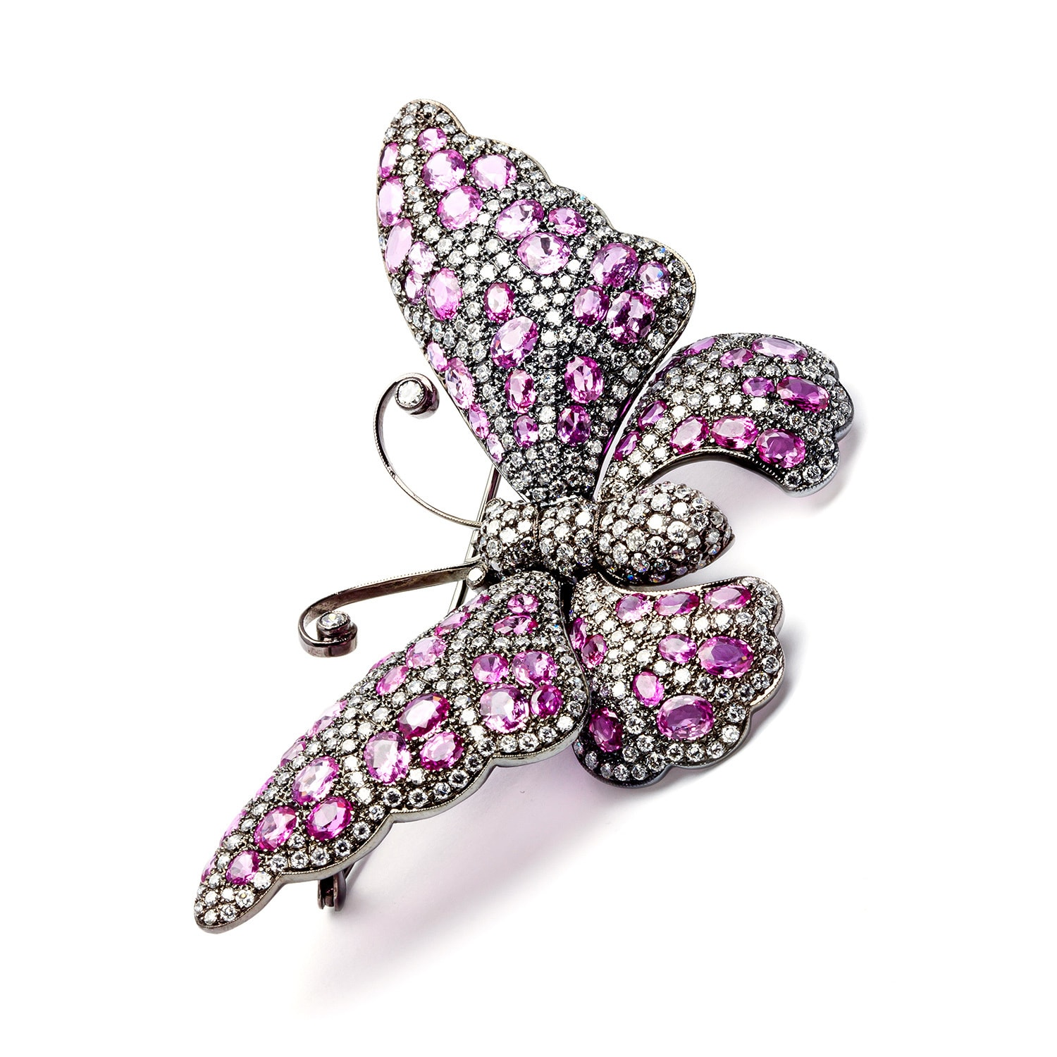 5ee4bab727f Shop Pre-owned 18k Gold Pink Sapphire and 8 1/3ct TDW Diamond Butterfly Pin  (H-I, VS1-VS2) - On Sale - Free Shipping Today - Overstock - 8394592