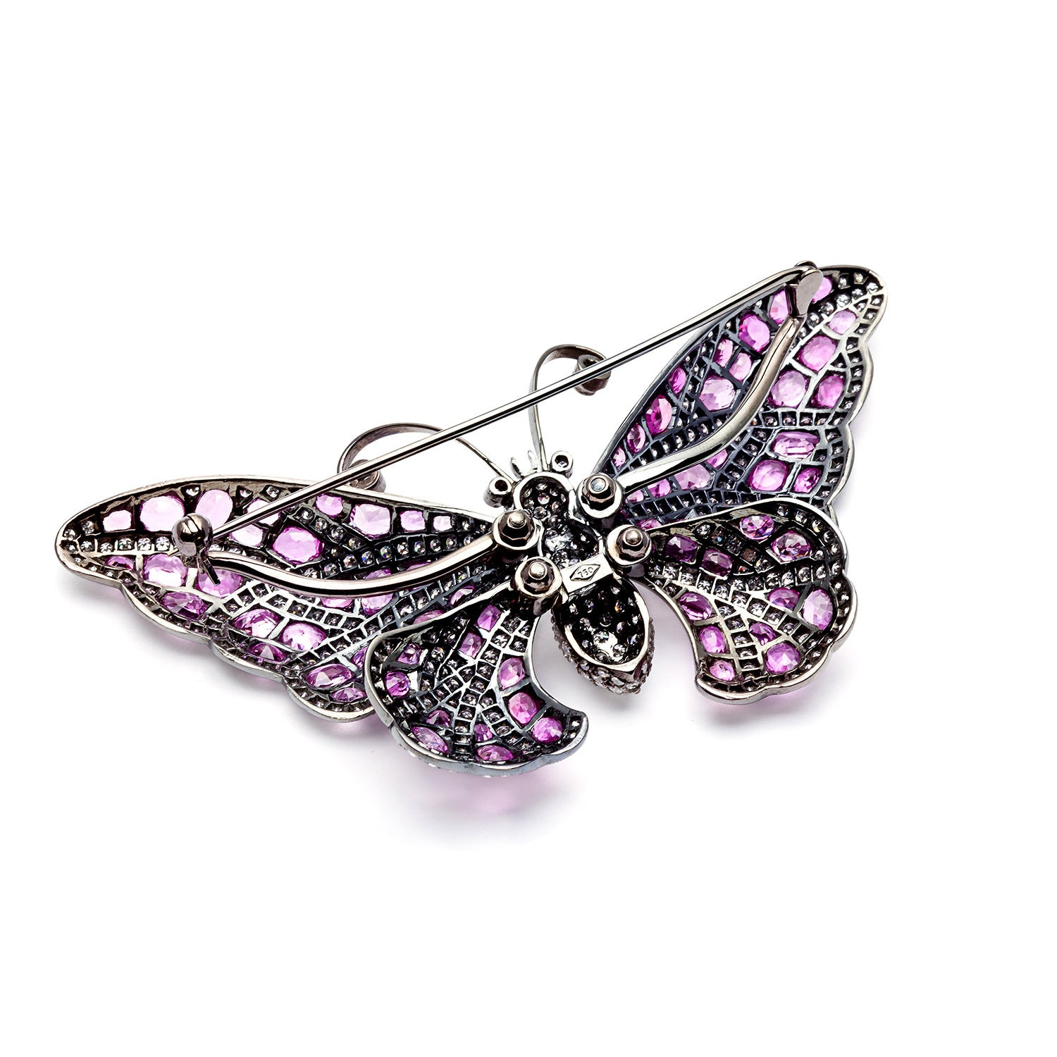 07016847c3e Shop Pre-owned 18k Gold Pink Sapphire and 8 1/3ct TDW Diamond Butterfly Pin  (H-I, VS1-VS2) - Ships To Canada - Overstock - 8394592