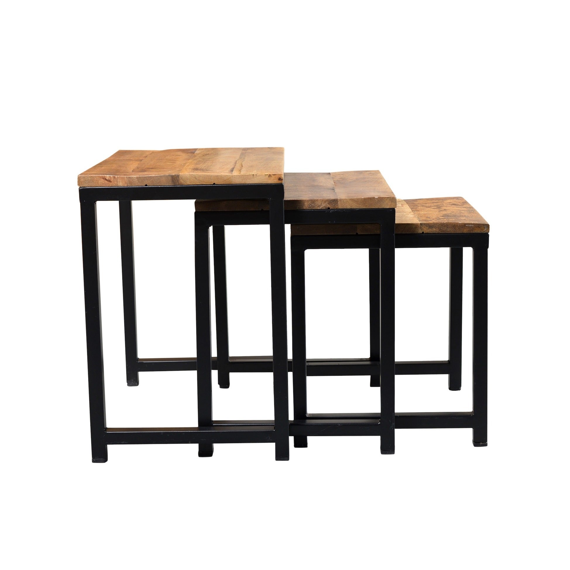 ef24514e00 Shop Timbergirl Reclaimed Wood and Iron 3-piece Nest of Tables (India) -  24