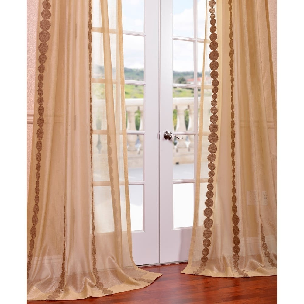Exclusive Fabrics Cleopatra Gold Embroidered Sheer Curtain Panel ...