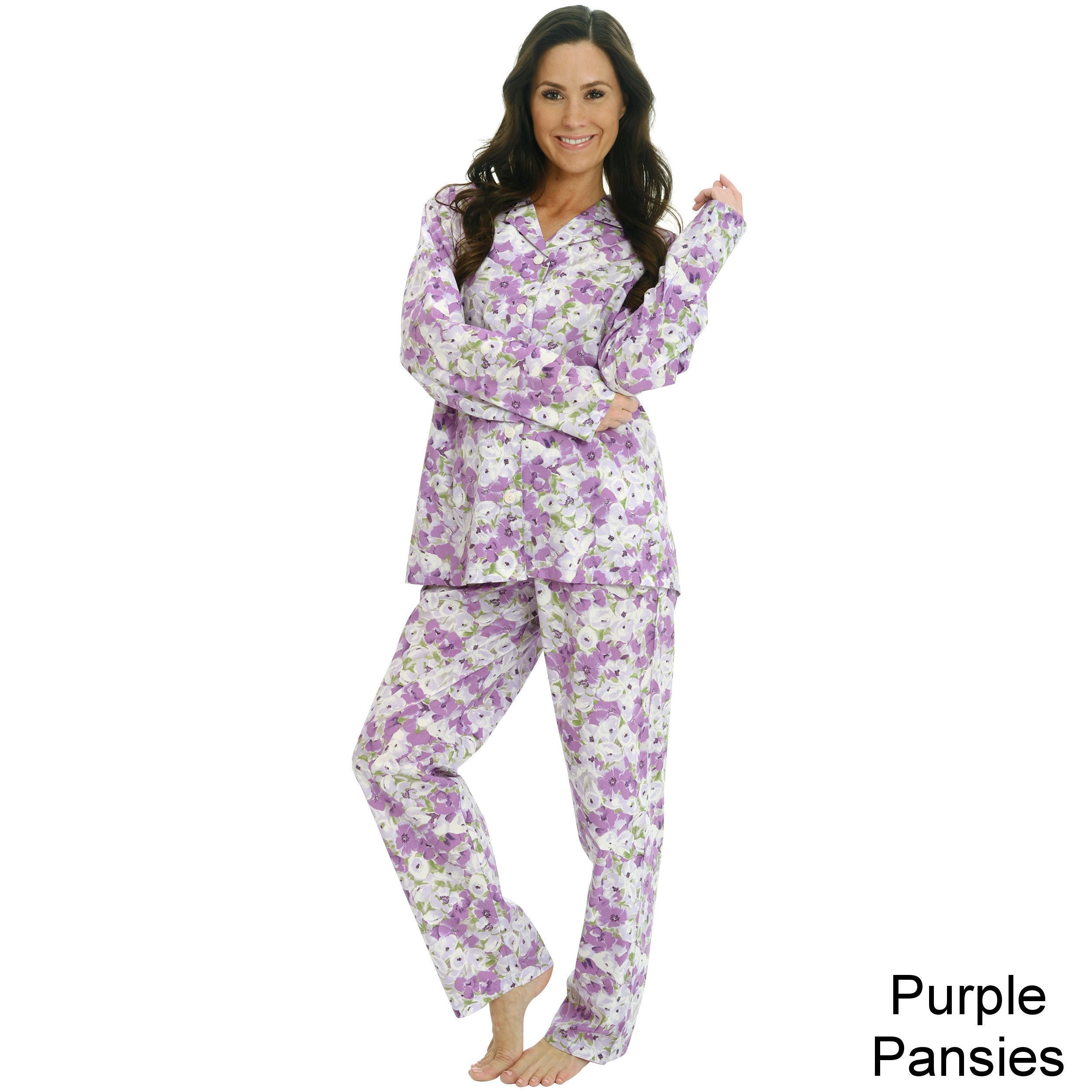 b1d114477 Shop Del Rossa Women s Woven Cotton Pajama Set - Free Shipping On Orders  Over  45 - Overstock - 8398764