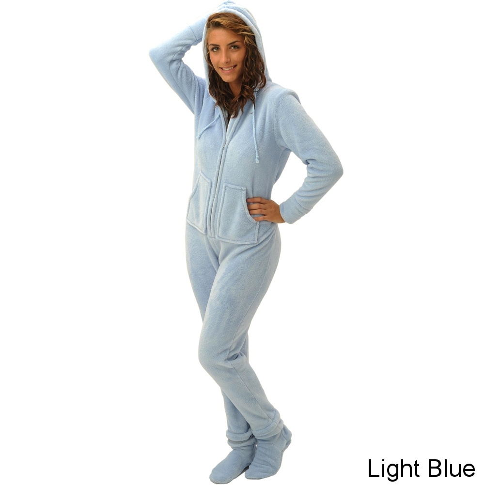 84b0d0ce1328 Shop Del Rossa Women s Hooded Footed One-Piece Fleece Pajamas - Free ...