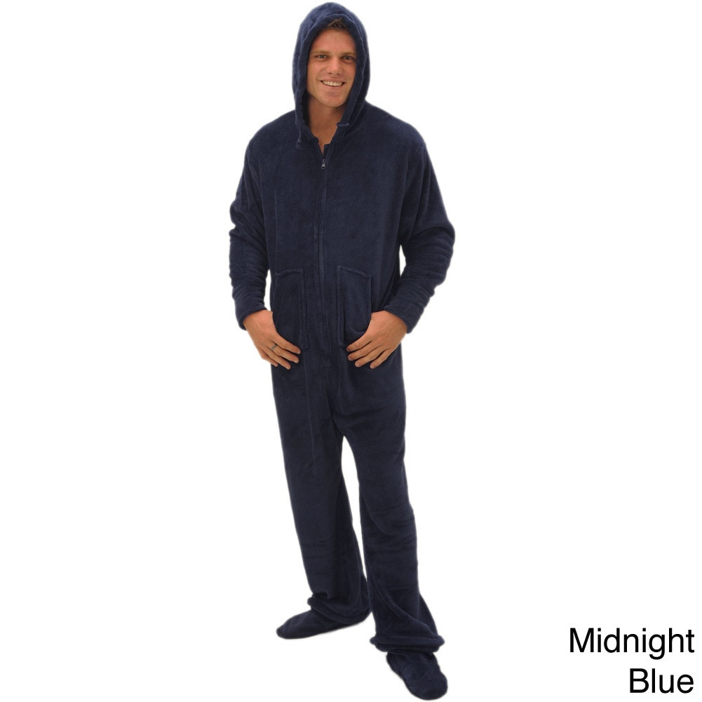 11760b091116 Shop Del Rossa Men s Hooded Footed One-Piece Fleece Pajamas - Free ...
