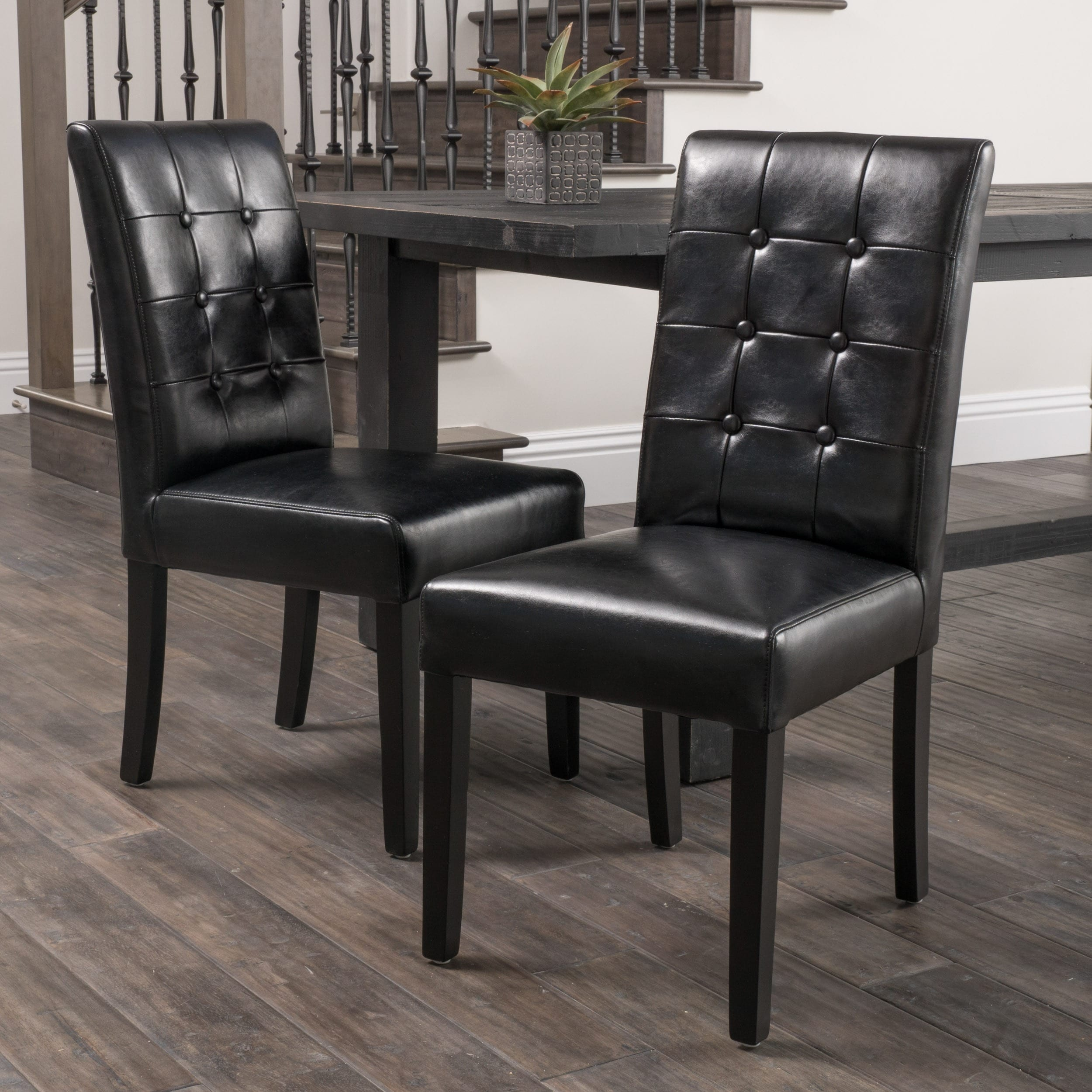 Roland black leather dining chairs set of 2 by christopher knight home