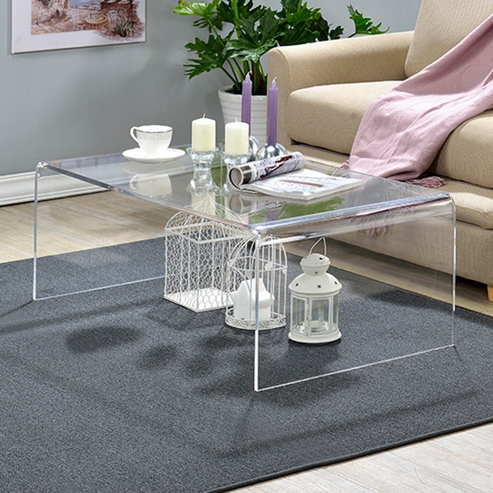 Shop clear acrylic coffee table free shipping today overstock com 8407290