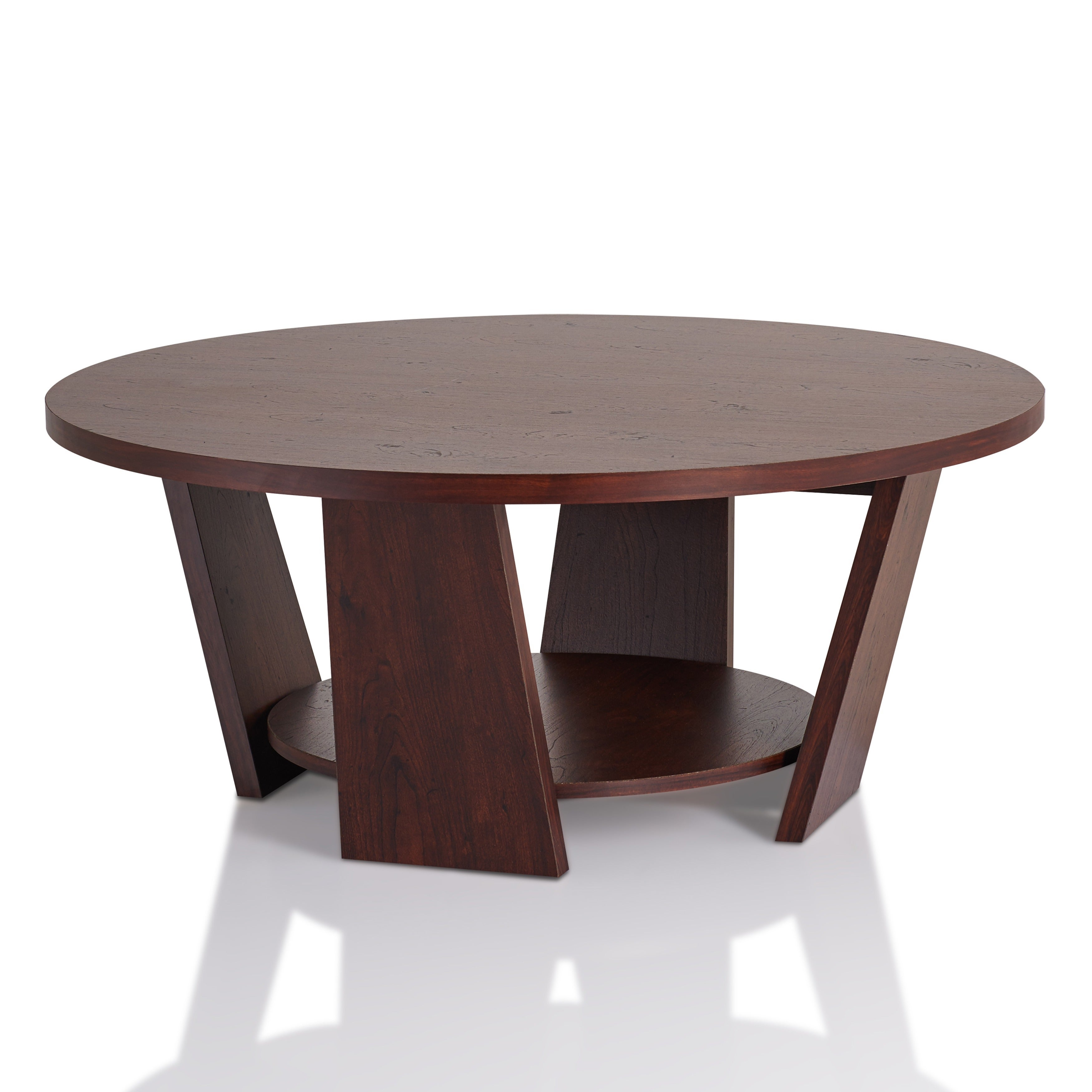Clay Alder Home Four Bears Round Vintage Walnut Coffee Table Free
