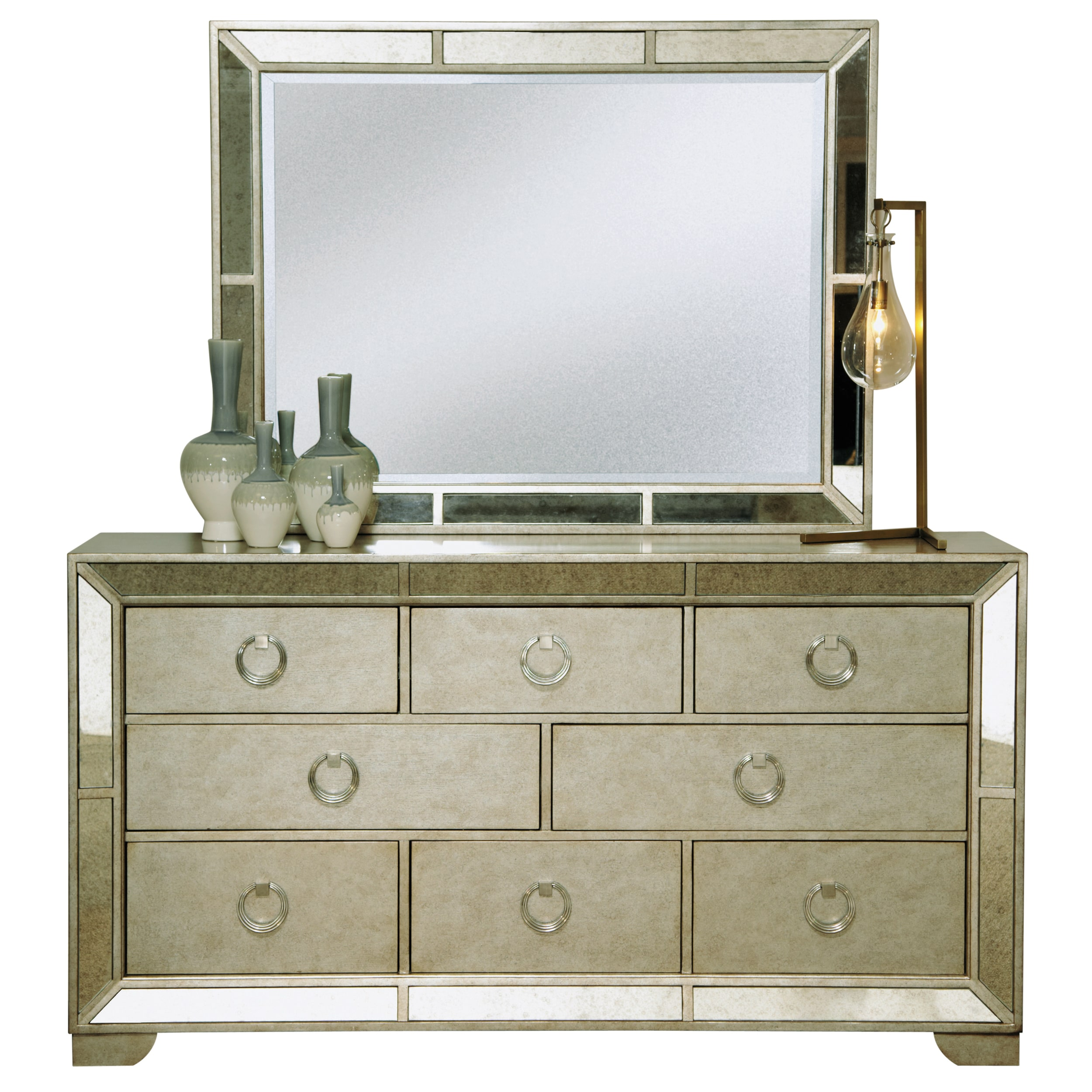 Celine 5 Piece Mirrored And Upholstered Tufted Queen Size Bedroom Set    Free Shipping Today   Overstock   15709229