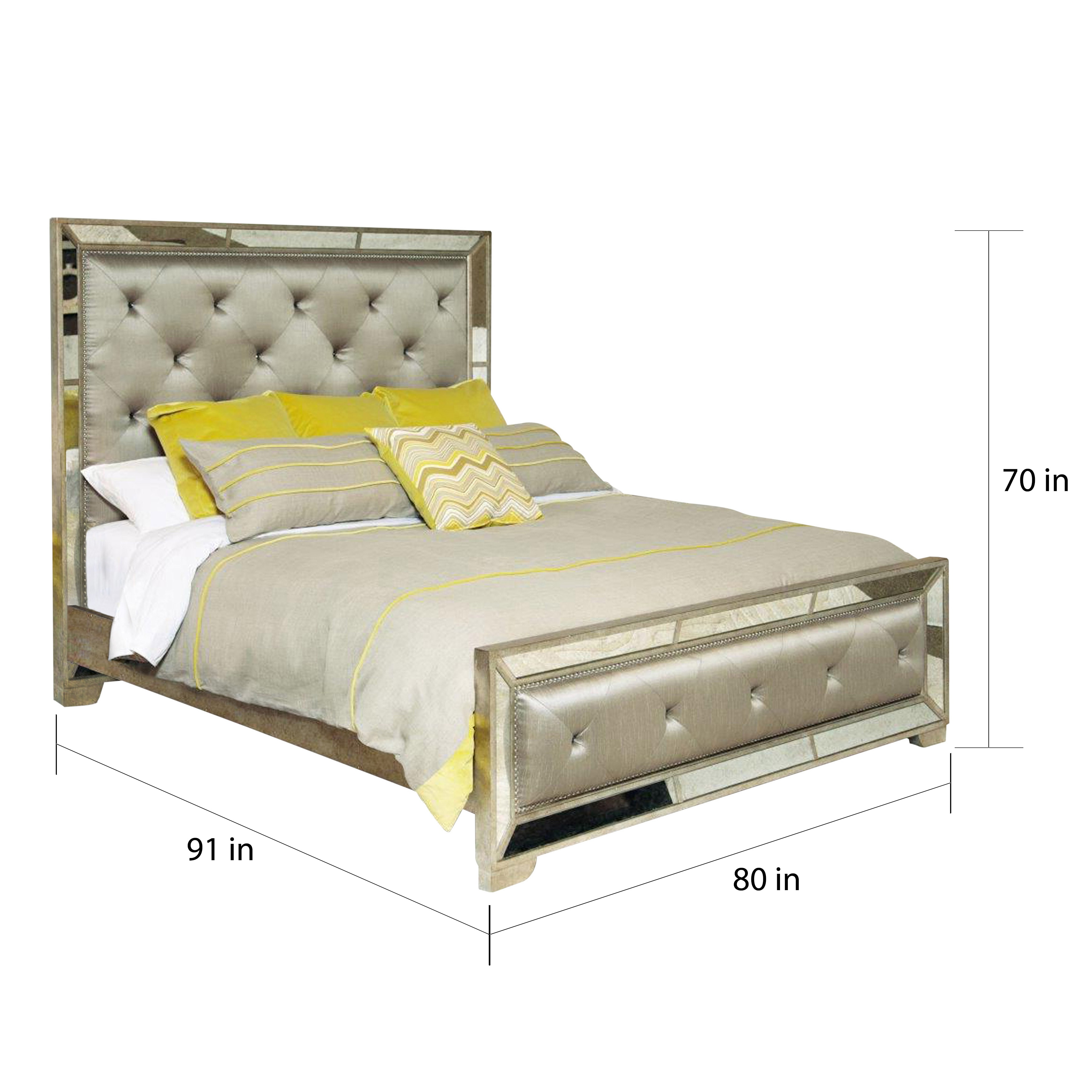 Celine 6 Piece Mirrored And Upholstered Tufted King Bedroom Set Free Shipping Today 8409732