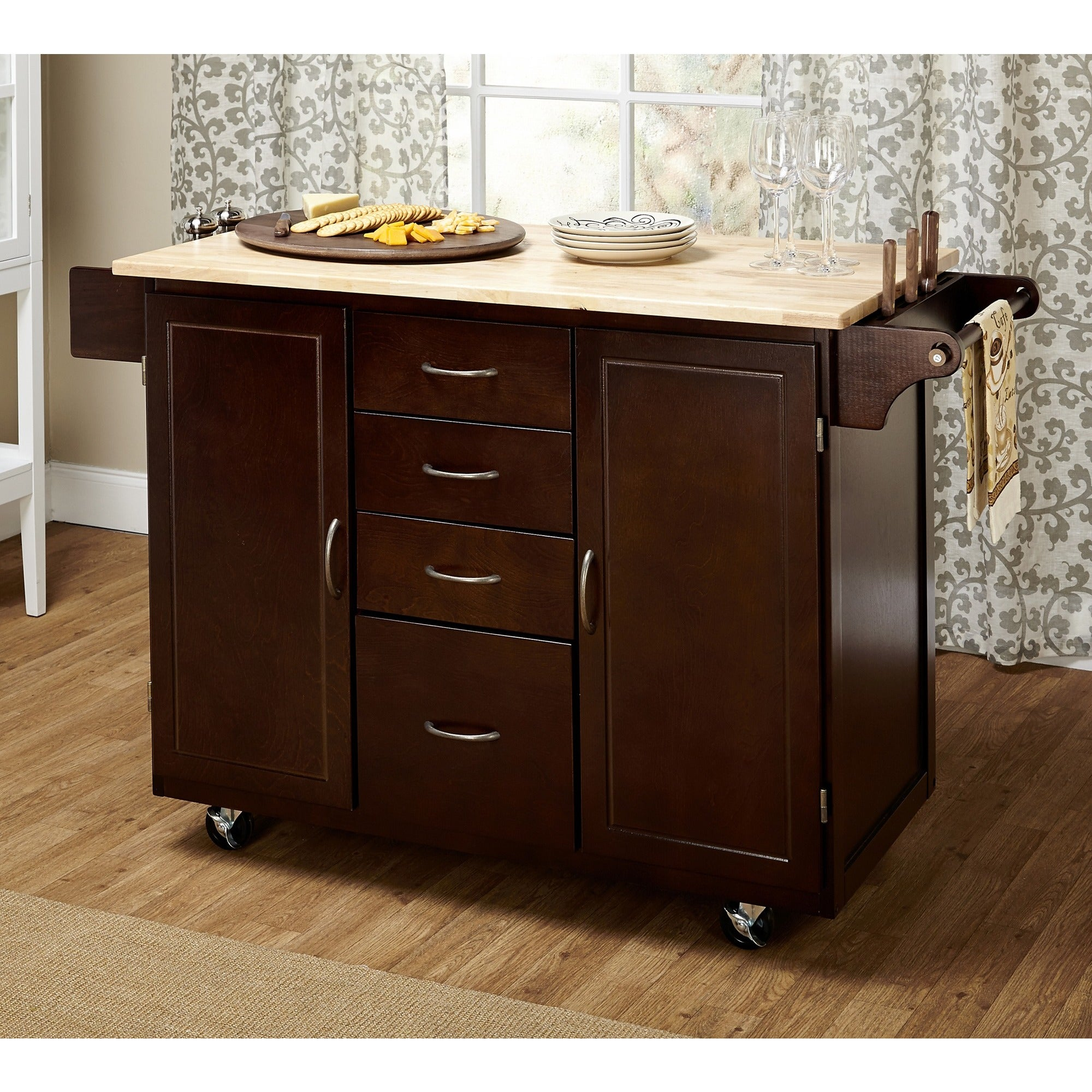 Genial Shop Simple Living Espresso/Natural Country Cottage Kitchen Cart   Free  Shipping Today   Overstock.com   8410337