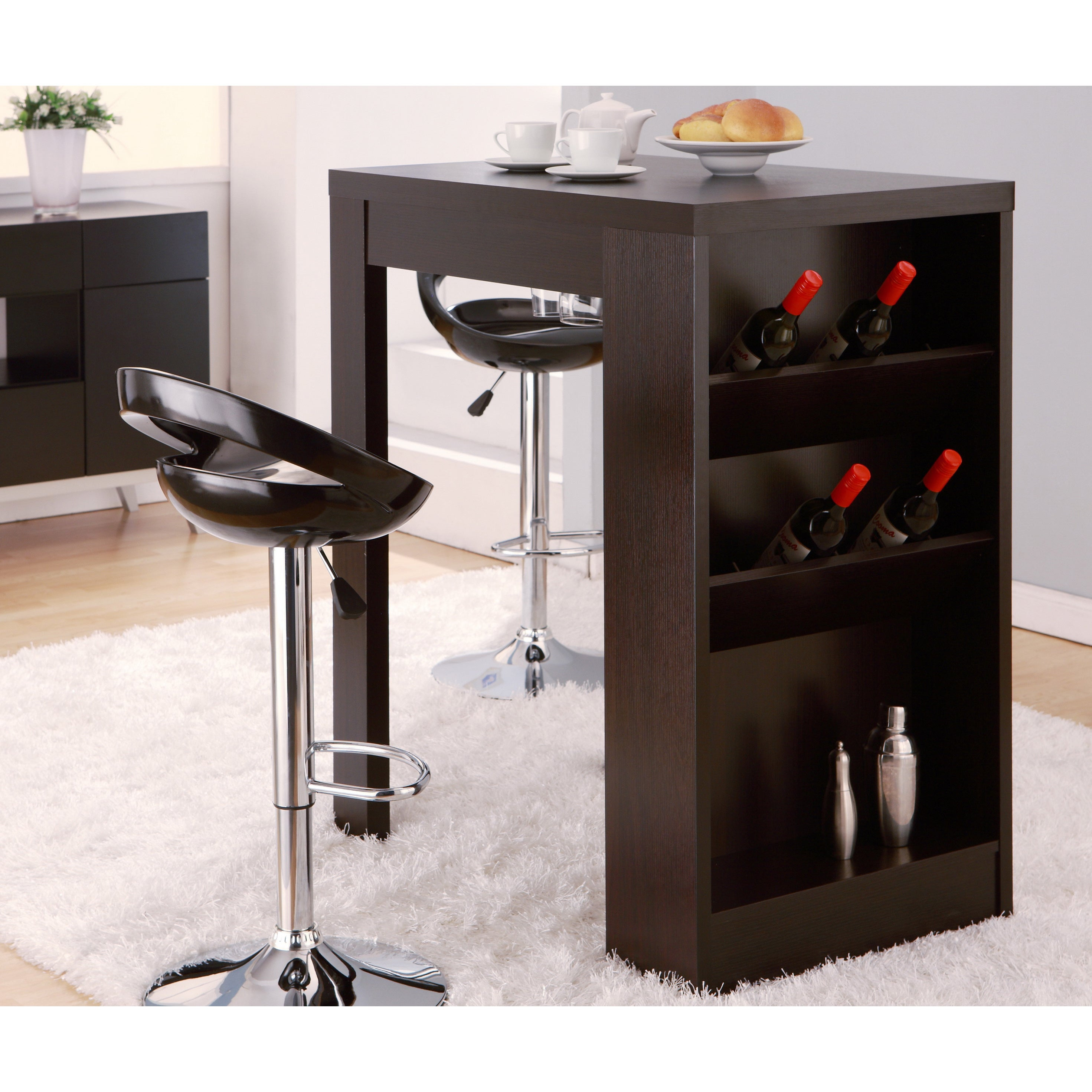 Furniture Of America Miura Modern Cuccino Multi Storage Bar Table Free Shipping Today 8410753