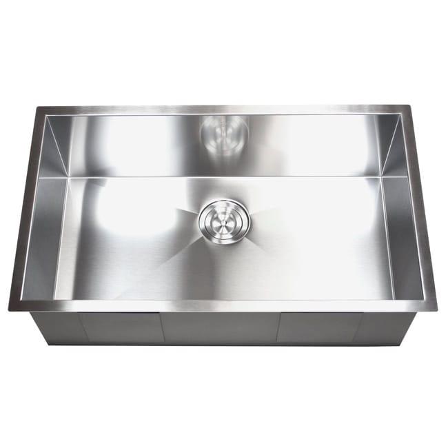 36 Inch Stainless Steel Single Bowl Undermount Zero Radius Kitchen Sink 16  Gauge   Free Shipping Today   Overstock   15716957
