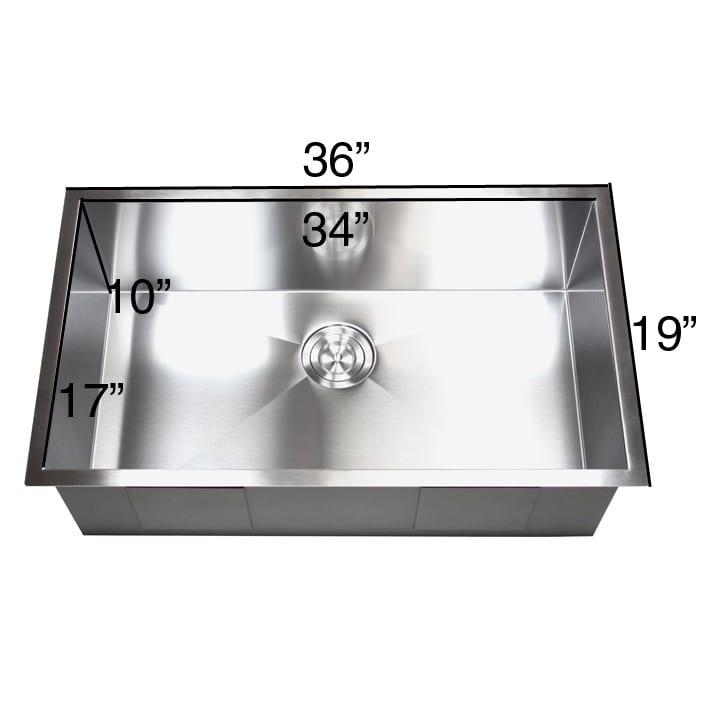 shop 36 inch stainless steel single bowl undermount zero radius rh overstock com 36 inch single bowl undermount kitchen sink