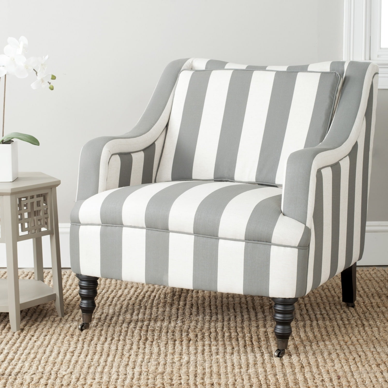 Shop Safavieh Homer Greyish Blue/ White Stripe Arm Chair - On Sale ...