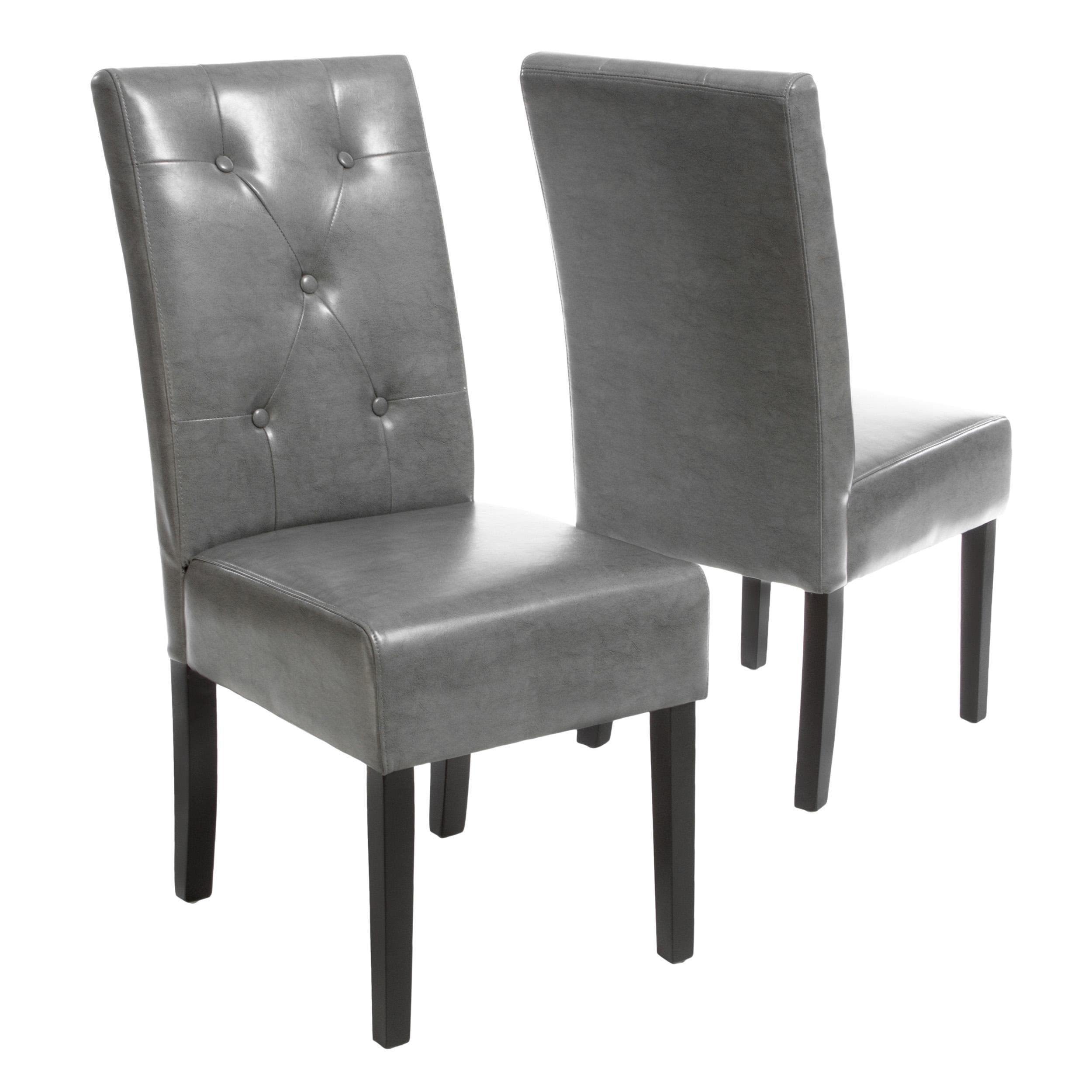 gray and white dining chairs oval dining shop taylor grey bonded leather dining chair set of 2 by christopher knight home on sale free shipping today overstockcom 8420017