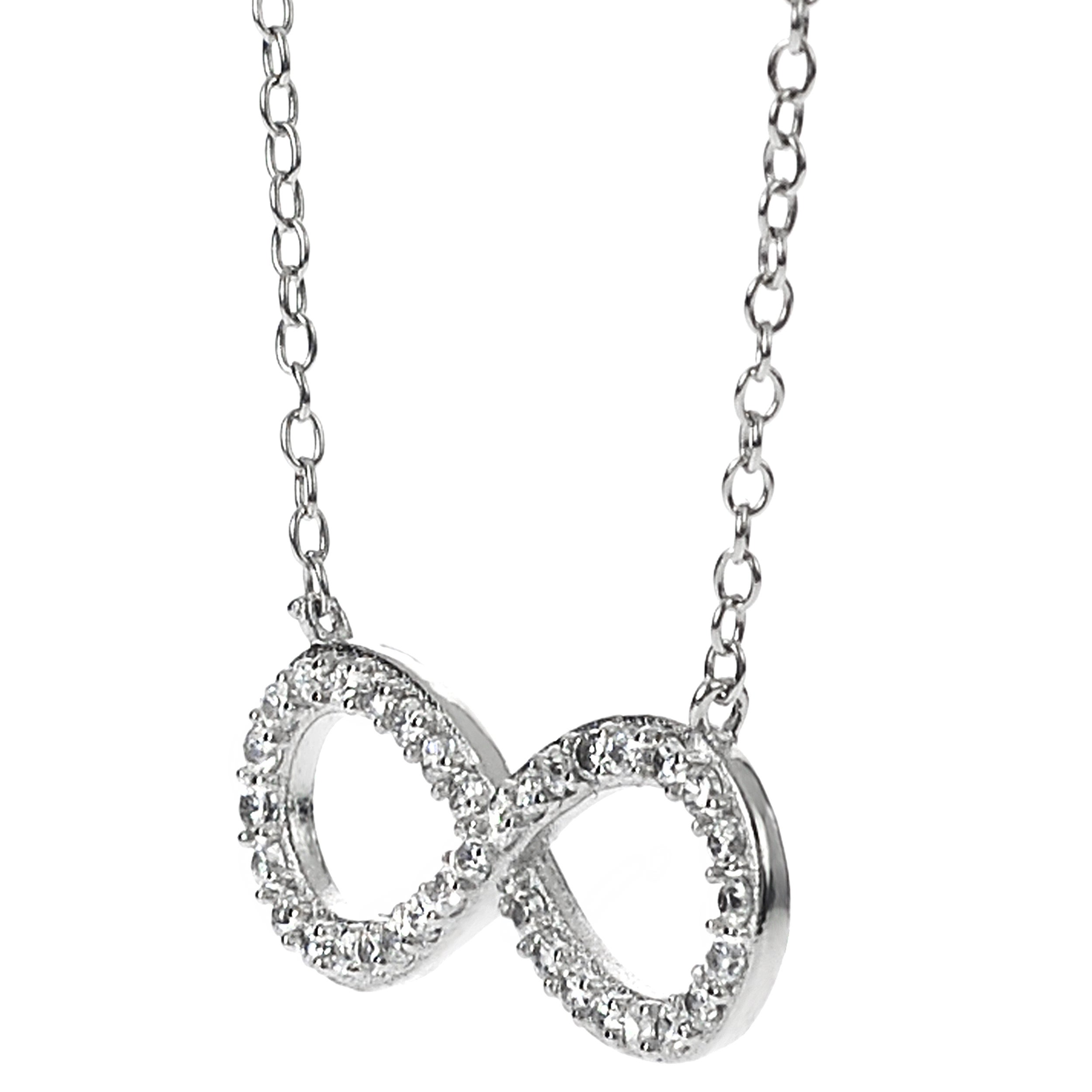 silver pin necklace infinity sterling s symbol leslie