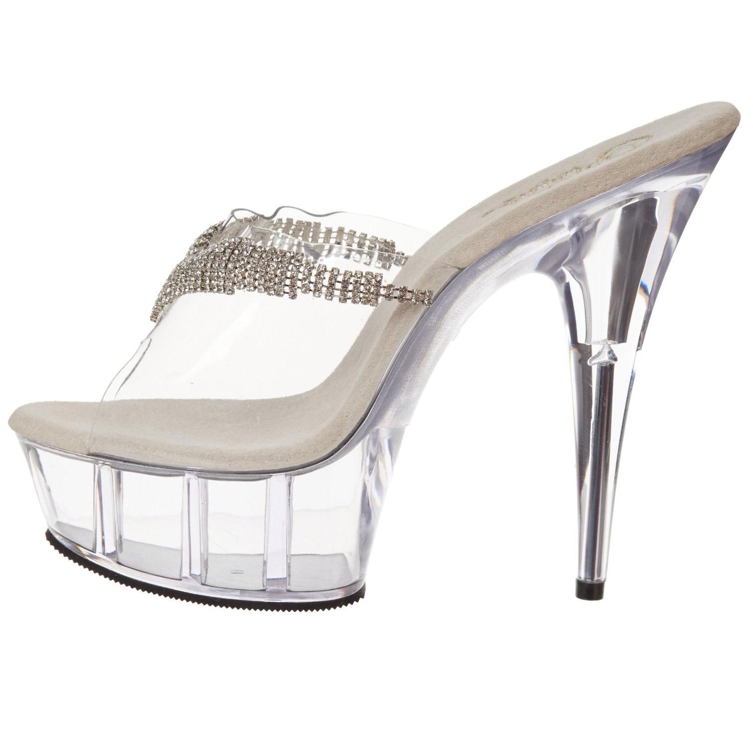 a84ecad5d8d3 Shop Pleaser Women s  Delight-601-5  Clear Lucite Platform Slide Sandals -  Free Shipping Today - Overstock - 8428763