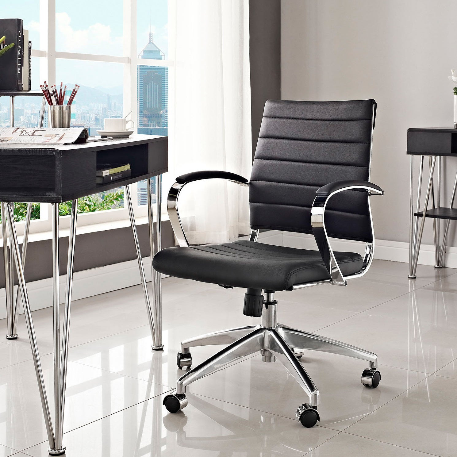 Jive Black Ribbed Vinyl Mid Back Executive Office Chair   Free Shipping  Today   Overstock   15726509