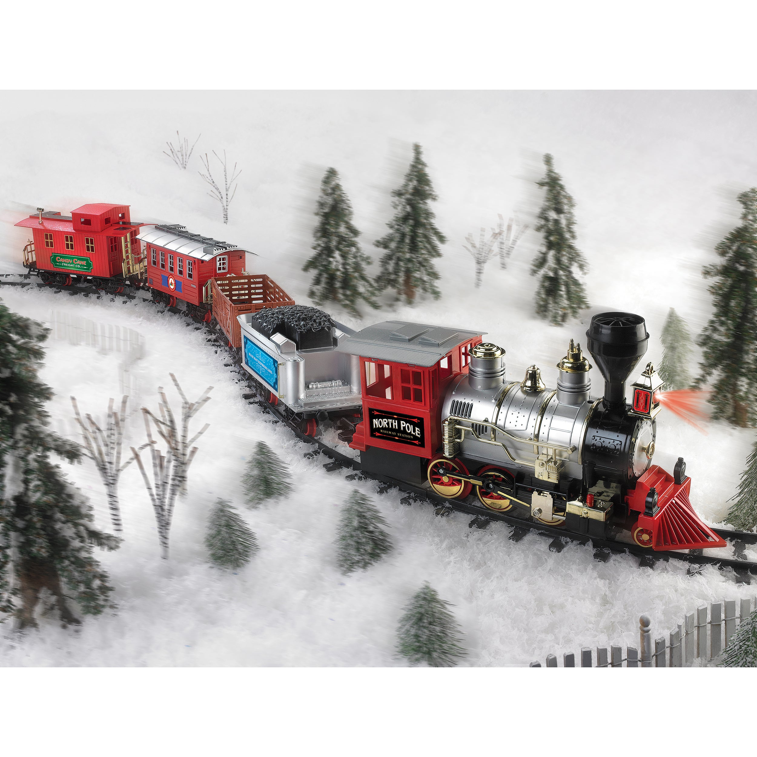 shop blue hat north pole junction christmas battery operated train set free shipping today overstockcom 8431124 - North Pole Junction Christmas Train