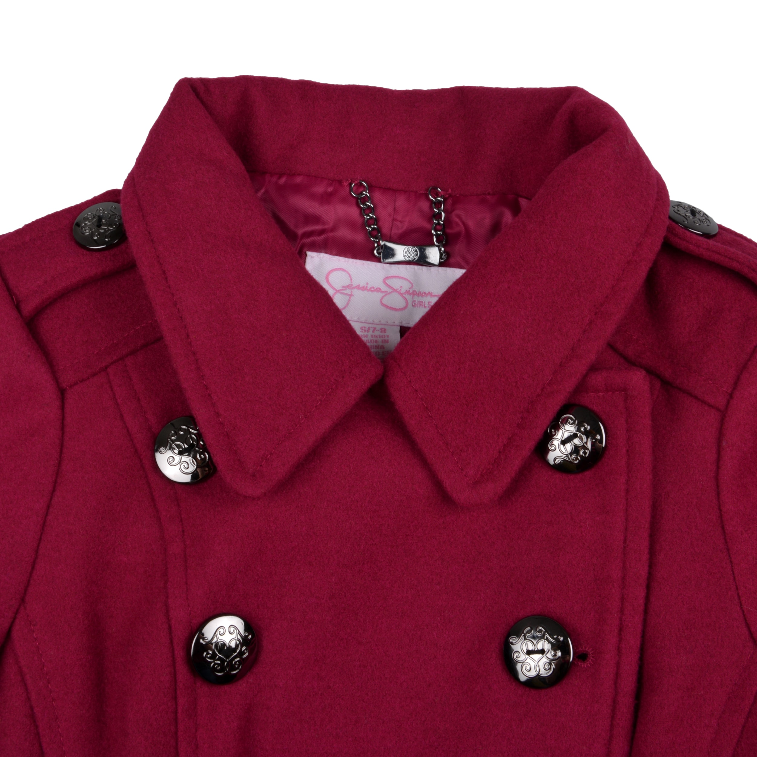 6bcfc06646a6 Shop Jessica Simpson Girl s Double Breasted Peplum Peacoat - Free ...