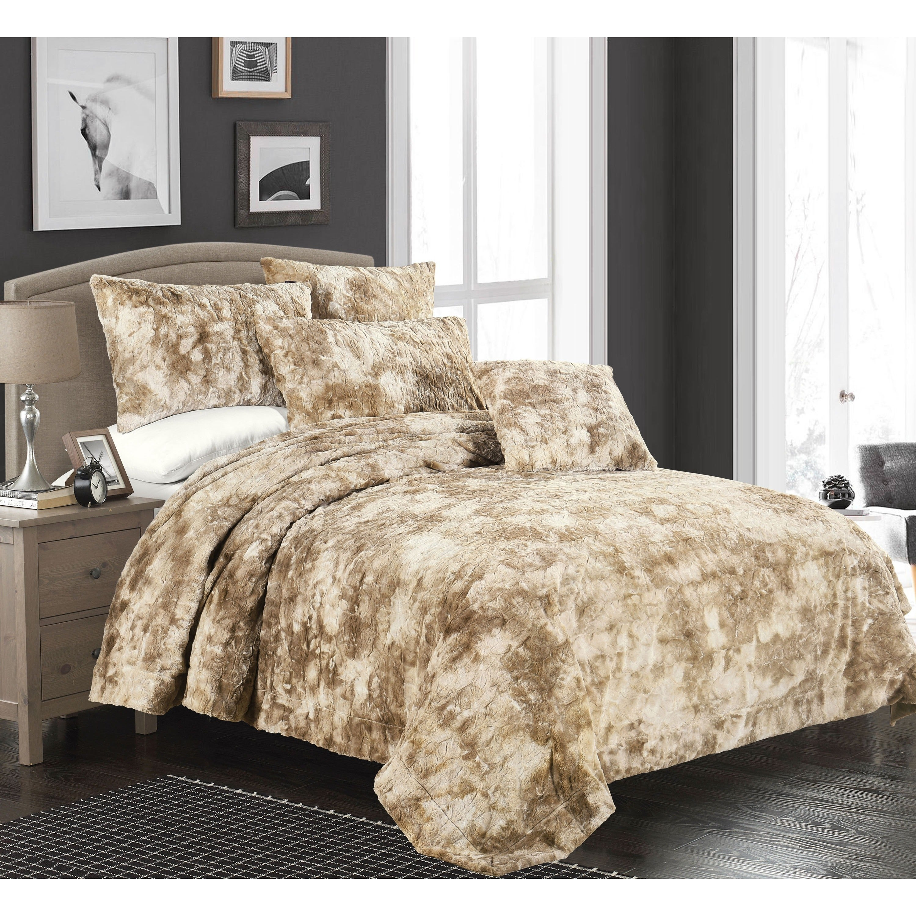 size comforter set chocolate beautiful embroidery bedspread and faux bedding fur bedroom king discount cozy bed ribbon curtain sets