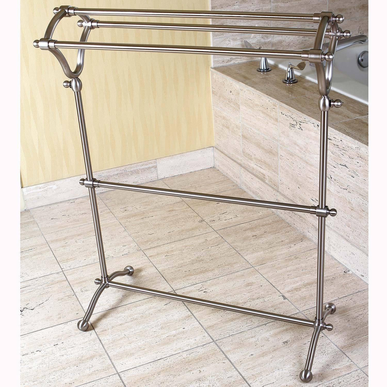 Shop Pedestal Satin Nickel Bath Towel Rack - Free Shipping Today ...