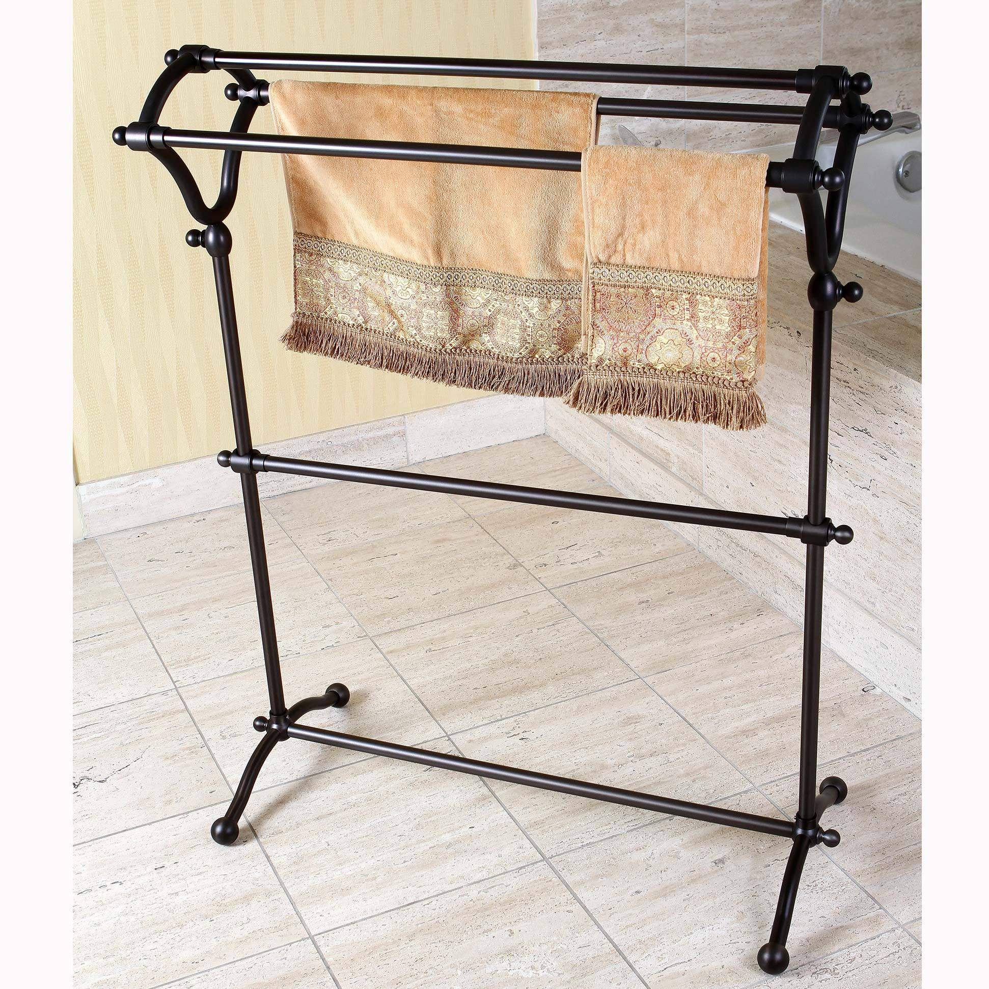 Picture of: Shop Pedestal Oil Rubbed Bronze Bath Towel Rack Brown Overstock 8433895