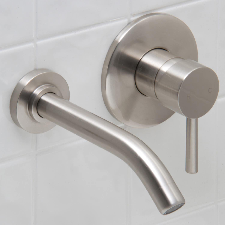 Shop VIGO Olus Bathroom Wall Mount Faucet in PVD Brushed Nickel - On ...