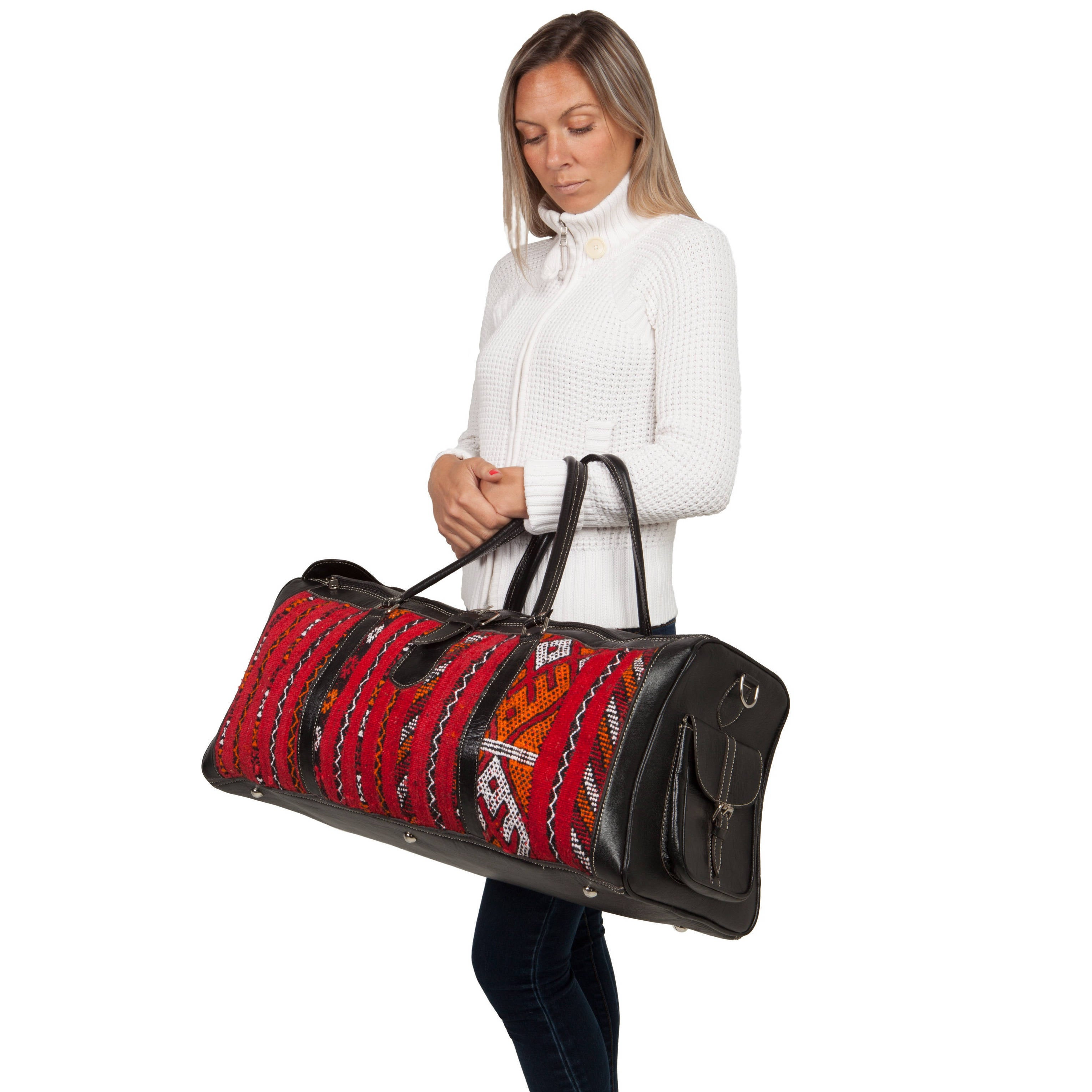 Shop Handmade Large Leather and Fabric Kilim Duffel Bag (Morocco) - Free  Shipping Today - Overstock - 8437697 f906533e445d0