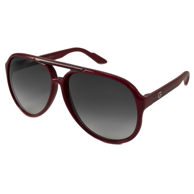 3590ee582bf Shop Gucci Unisex  1627 S  Red Plastic Aviator Sunglasses - Free Shipping  Today - Overstock - 8438091
