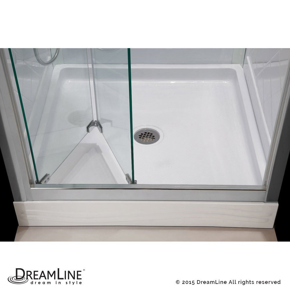 Dreamline Erfly Frameless Bi Fold Shower Door 36 In By Single Threshold Base And Qwall 5 Backwall Kit Free Shipping Today