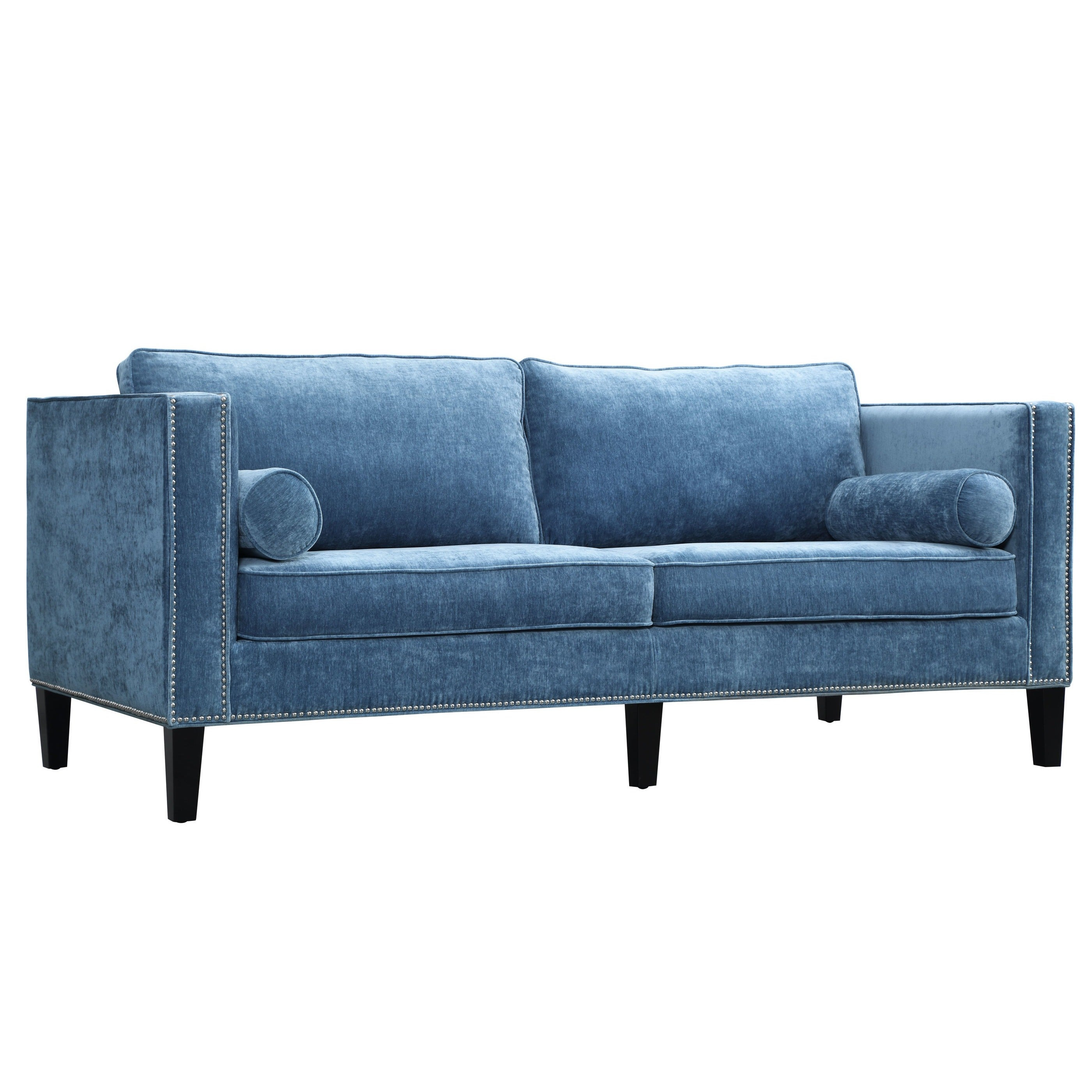Shop Cooper Blue Velvet Sofa - Free Shipping Today - Overstock.com ...