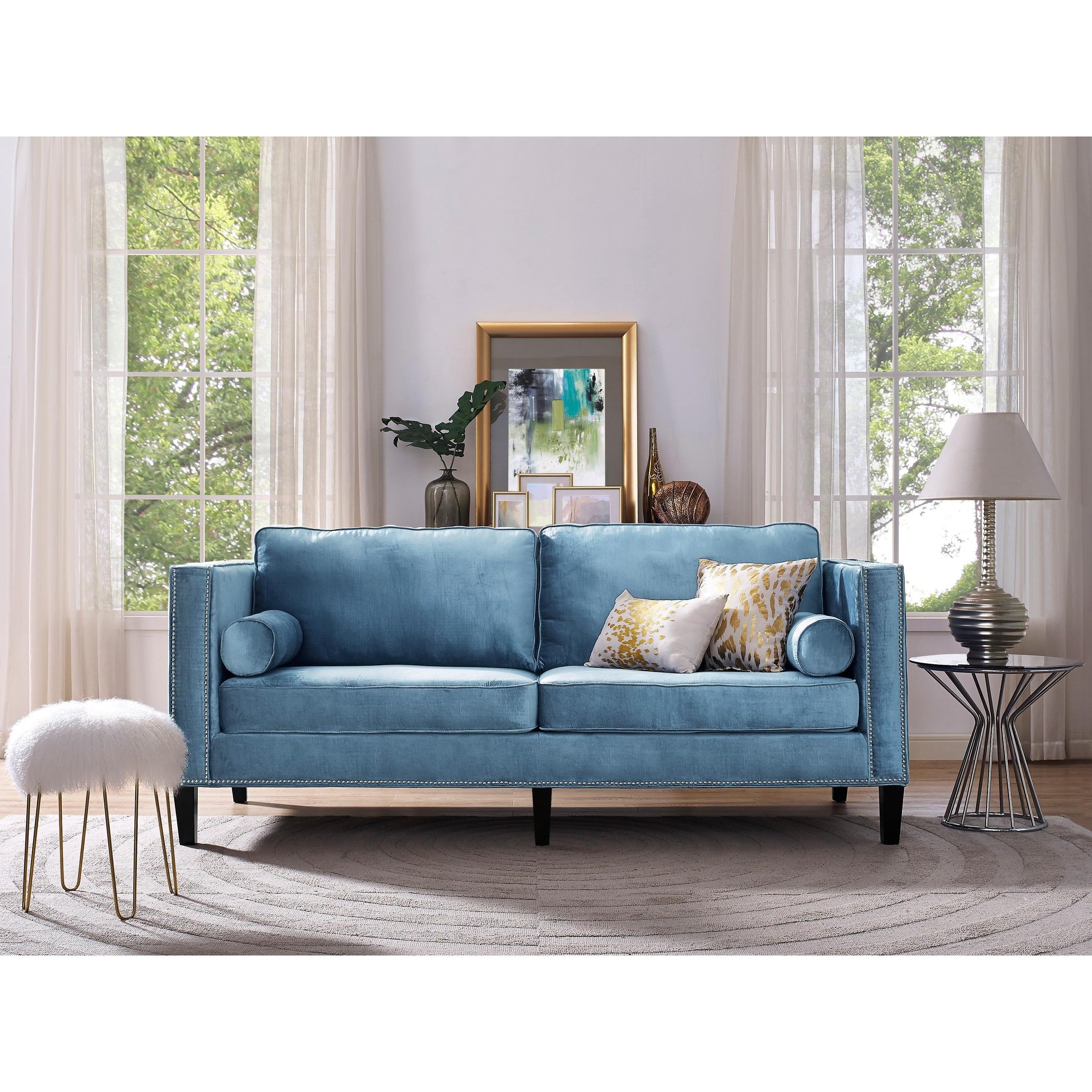 Cooper Blue Velvet Sofa Free Shipping Today Overstock