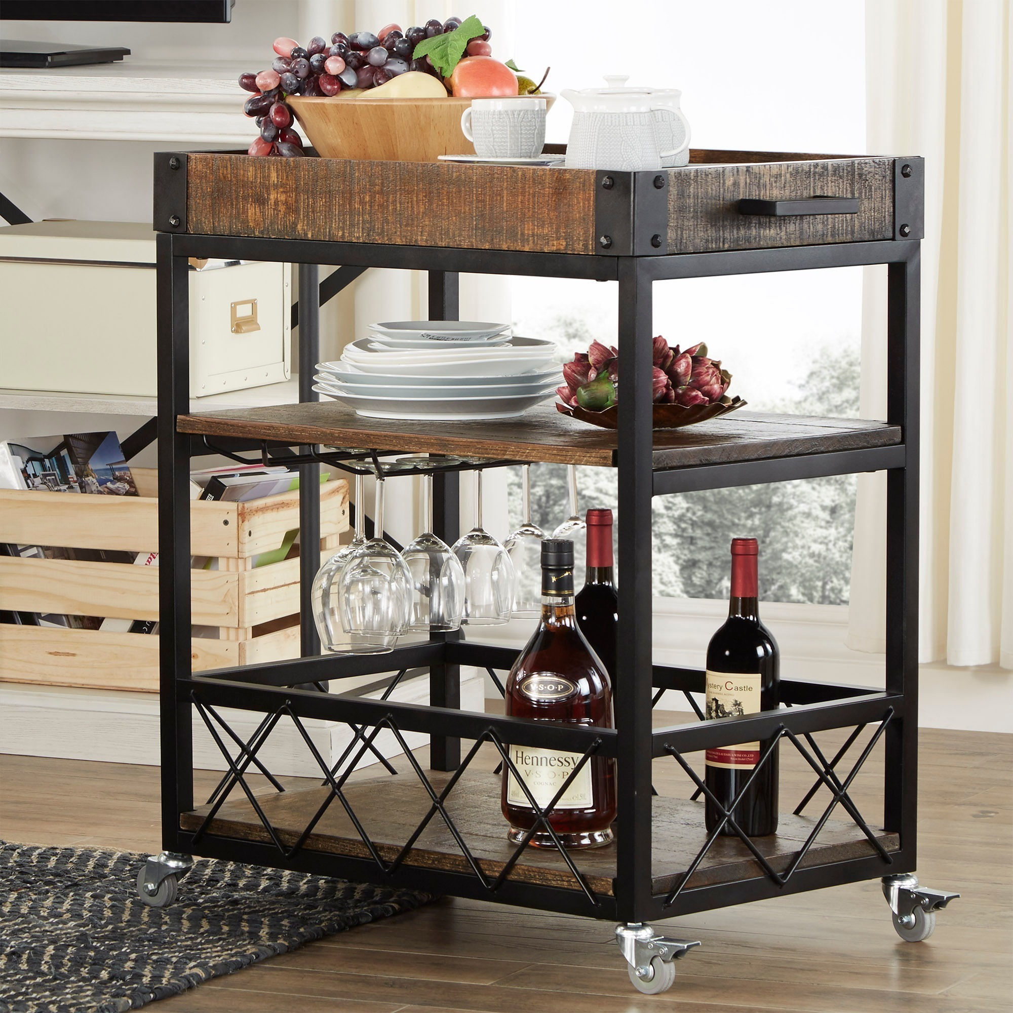 Myra Rustic Mobile Serving Cart with Wine Inserts and Removable Tray Top by  iNSPIRE Q Classic - Free Shipping Today - Overstock.com - 15741469